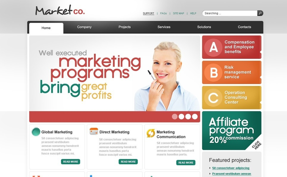 PSD шаблон №54166 на тему  маркетингового агентства New Screenshots BIG