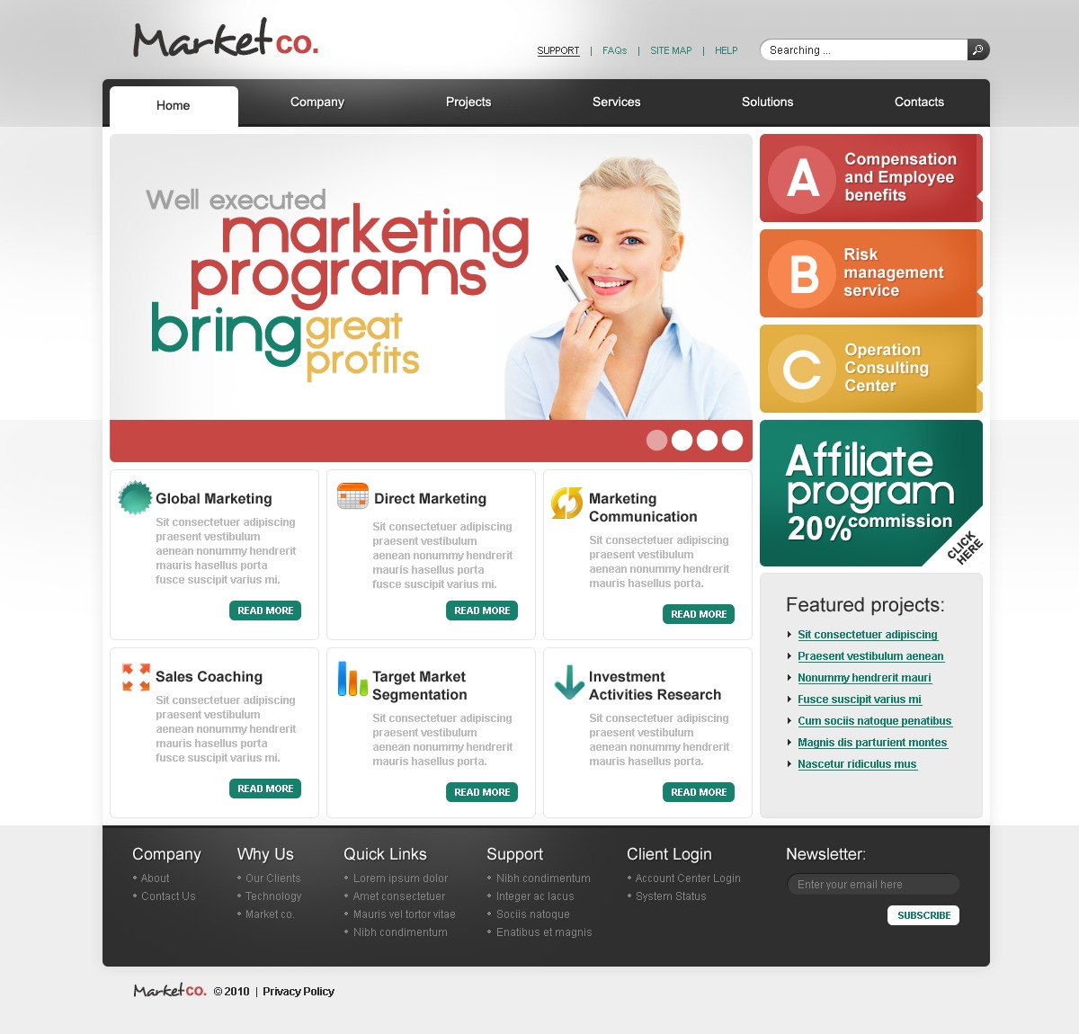 The Market Company PSD Design 54166, one of the best PSD templates of its kind (business, flash 8, wide), also known as market company PSD template, business company PSD template, corporate solutions PSD template, innovations PSD template, contacts PSD template, service PSD template, support PSD template, information dealer PSD template, stocks PSD template, team PSD template, success PSD template, money PSD template, marketing PSD template, director PSD template, manager PSD template, analytics PSD template, planning PSD template, limited PSD template, office PSD template, sales and related with market company, business company, corporate solutions, innovations, contacts, service, support, information dealer, stocks, team, success, money, marketing, director, manager, analytics, planning, limited, office, sales, etc.
