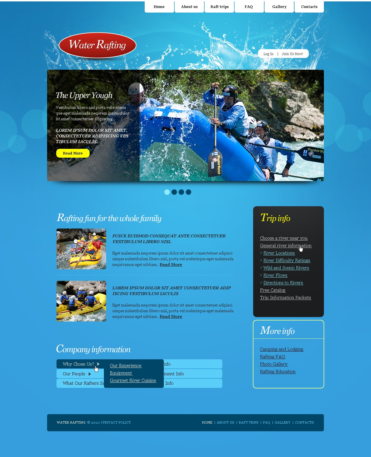The Rafting River PSD Design 54185, one of the best PSD templates of its kind (sport, most popular, wide, jquery), also known as rafting river PSD template, sport PSD template, boat PSD template, extreme PSD template, adventure PSD template, canoe PSD template, kayak PSD template, water PSD template, paddle and related with rafting river, sport, boat, extreme, adventure, canoe, kayak, water, paddle, etc.