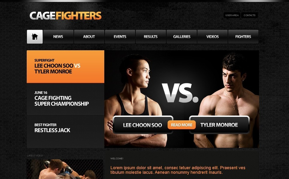 Template Photoshop  para Sites de Artes Marciais №54190 New Screenshots BIG