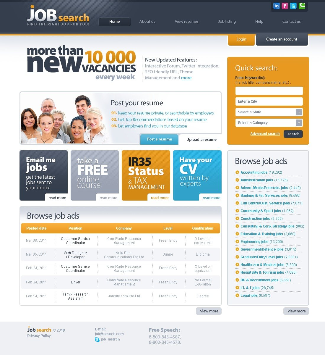 The Job Search PSD Design 54193, one of the best PSD templates of its kind (business, portal, most popular, wide, jquery), also known as job search PSD template, finder PSD template, bank portal career company PSD template, opportunities PSD template, find PSD template, resume PSD template, candidate PSD template, freelance PSD template, profile PSD template, testimonials PSD template, work PSD template, team PSD template, standard PSD template, principles PSD template, private public management PSD template, support PSD template, services PSD template, vacancy PSD template, employment PSD template, labor PSD template, registry PSD template, office PSD template, searching and related with job search, finder, bank portal career company, opportunities, find, resume, candidate, freelance, profile, testimonials, work, team, standard, principles, private public management, support, services, vacancy, employment, labor, registry, office, searching, etc.