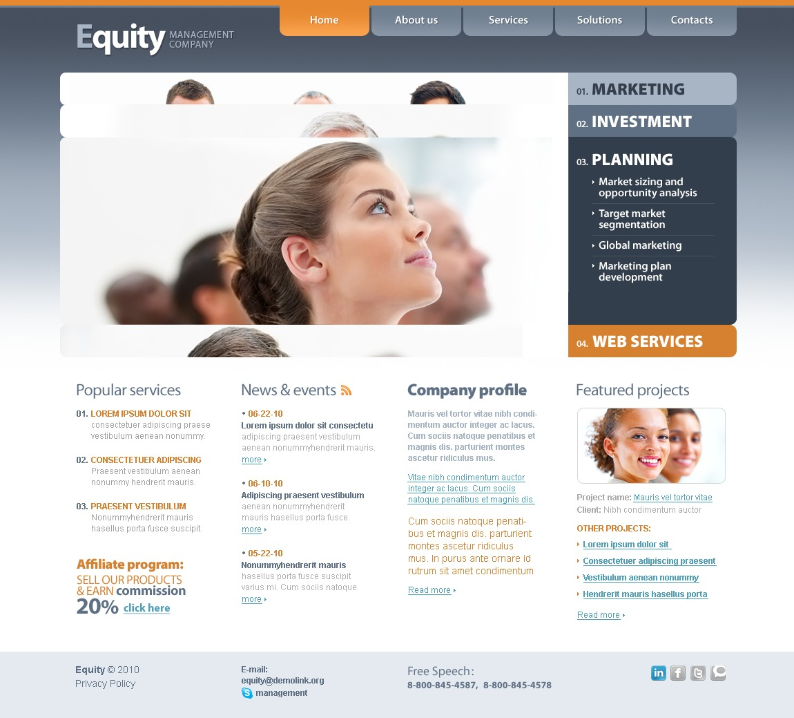 The Equity Business Company PSD Design 54195, one of the best PSD templates of its kind (business, flash 8, wide), also known as equity business company PSD template, corporate solutions PSD template, innovations PSD template, contacts PSD template, service PSD template, support PSD template, information dealer PSD template, stocks PSD template, team PSD template, success PSD template, money PSD template, marketing PSD template, director PSD template, manager PSD template, analytics PSD template, planning PSD template, limited PSD template, office PSD template, sales and related with equity business company, corporate solutions, innovations, contacts, service, support, information dealer, stocks, team, success, money, marketing, director, manager, analytics, planning, limited, office, sales, etc.