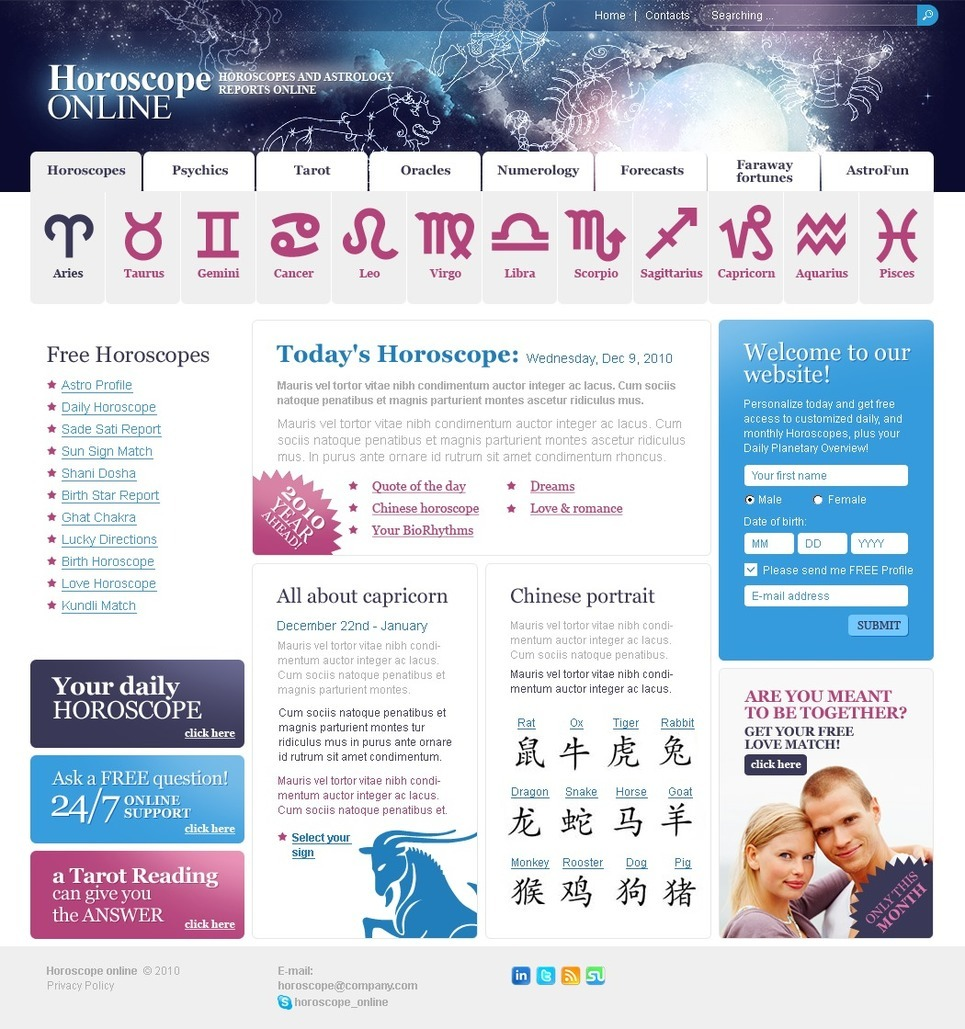 Astrology PSD Template New Screenshots BIG