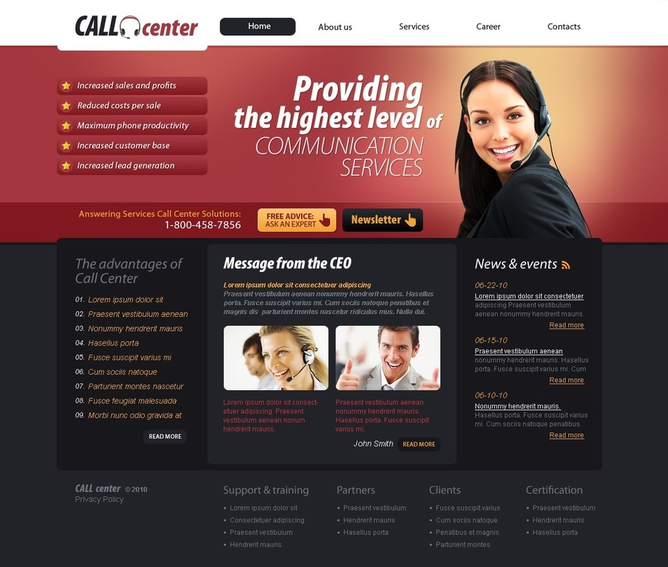 Call Center PSD Template New Screenshots BIG