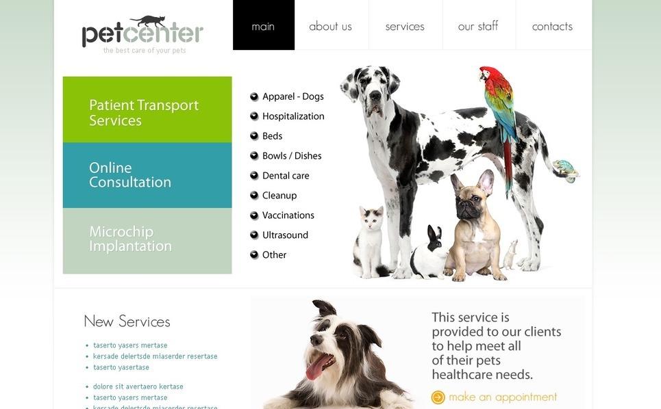 Modello PSD  #54101 per Un Sito di Veterinario New Screenshots BIG