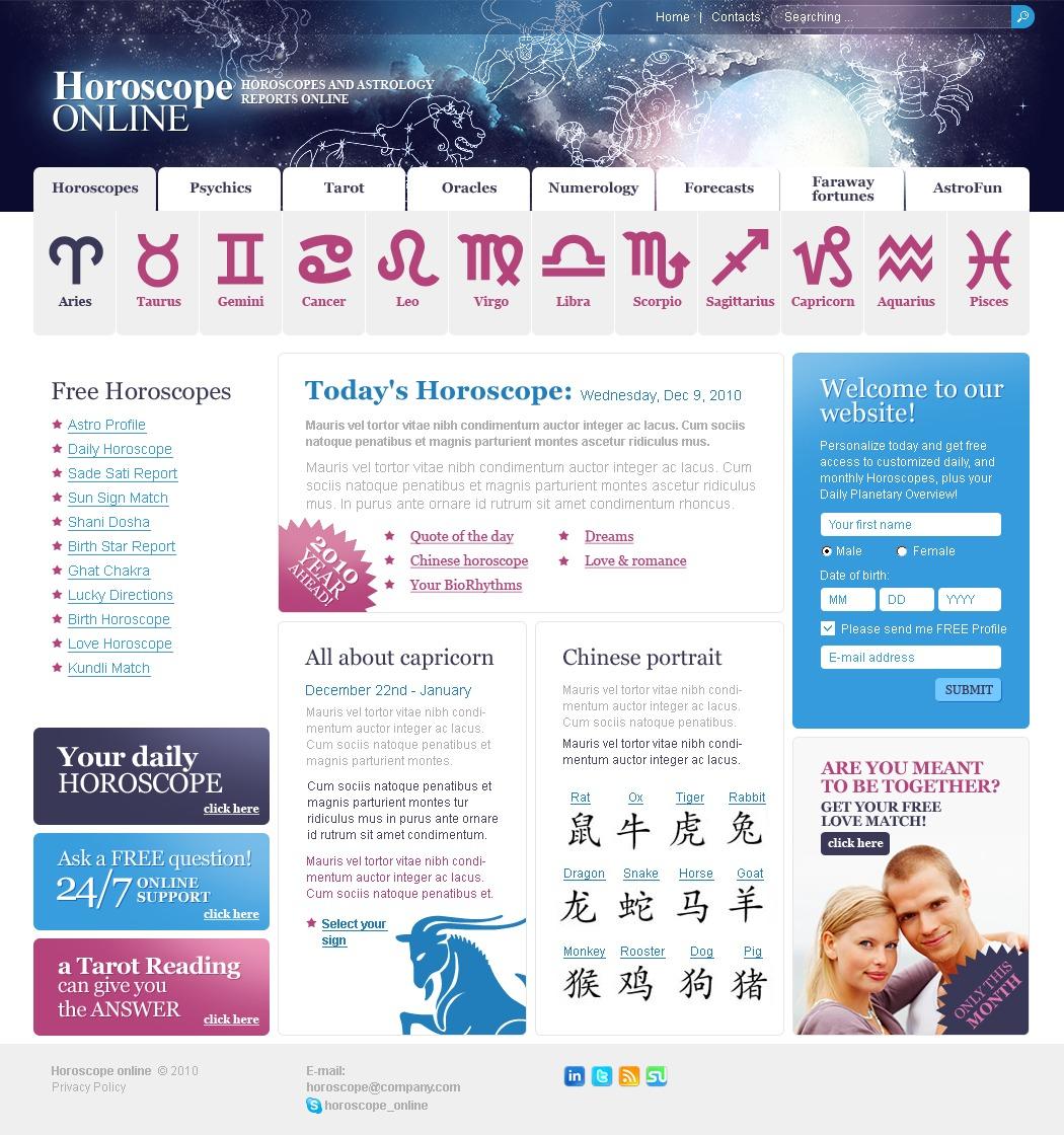 Plantilla PSD #54162 para Sitio de Astrología
