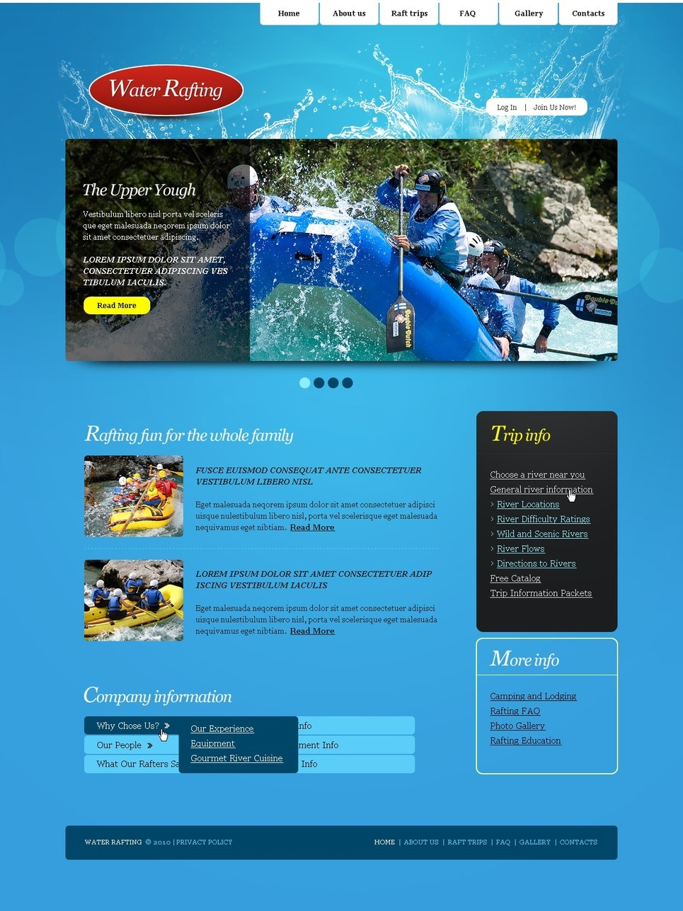Rafting PSD Template New Screenshots BIG