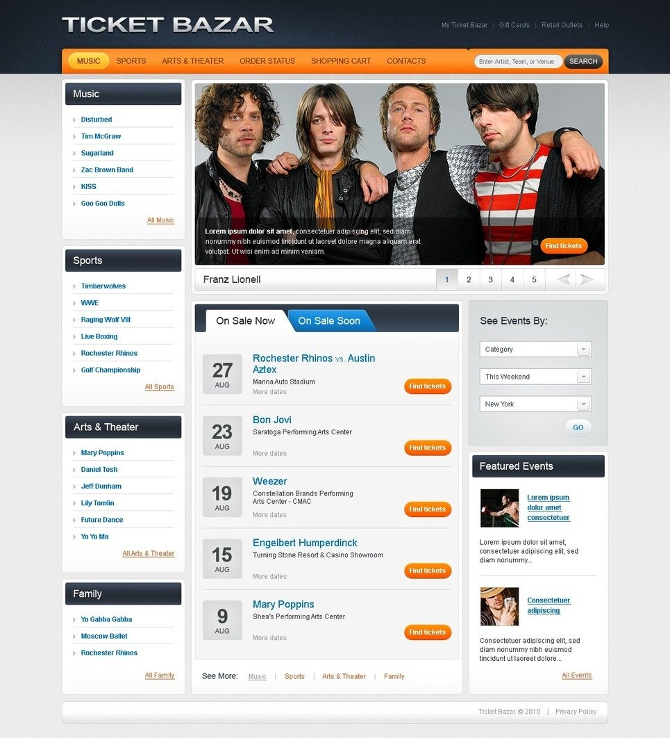 Tickets Website PSD Template New Screenshots BIG