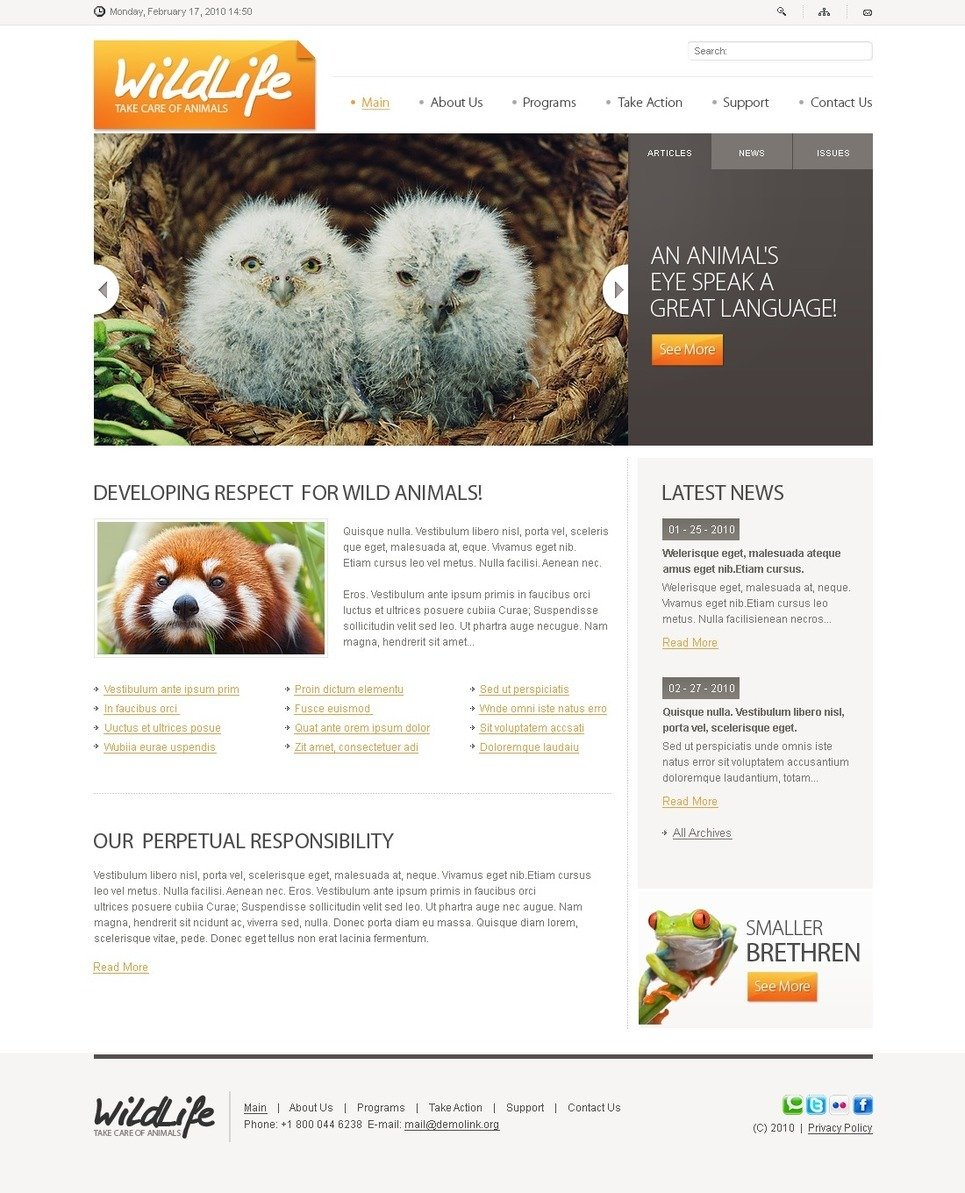 Wild Life PSD Template New Screenshots BIG
