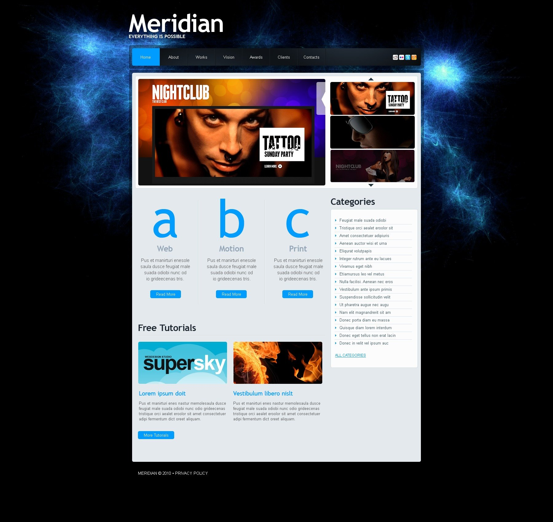 The Meridian Design Studio PSD Design 54219, one of the best PSD templates of its kind (web design, flash 8, wide), also known as meridian design studio PSD template, creative art gallery PSD template, artists PSD template, painting PSD template, painters PSD template, web development PSD template, webmasters PSD template, designers PSD template, internet PSD template, www PSD template, sites PSD template, web design PSD template, webpage PSD template, personal portfolio and related with meridian design studio, creative art gallery, artists, painting, painters, web development, webmasters, designers, internet, www, sites, web design, webpage, personal portfolio, etc.