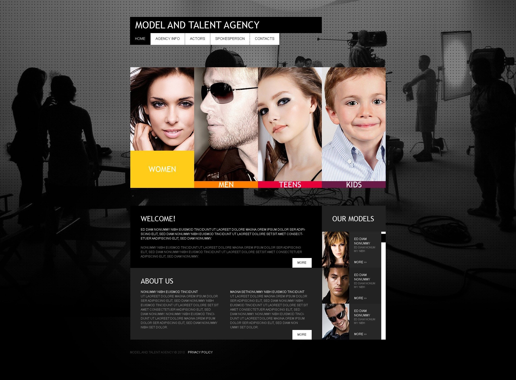 The Models Talent Agency PSD Design 54220, one of the best PSD templates of its kind (fashion, most popular, wide, jquery), also known as models talent agency PSD template, model's PSD template, portfolio agency PSD template, fashion PSD template, style PSD template, photos PSD template, models PSD template, women PSD template, men PSD template, children PSD template, partners PSD template, catalogue PSD template, success career PSD template, job  casting PSD template, audition PSD template, catwalk PSD template, podium PSD template, walk PSD template, clothes PSD template, photo PSD template, session PSD template, shows PSD template, beauty PSD template, D.Shepard and related with models talent agency, model's, portfolio agency, fashion, style, photos, models, women, men, children, partners, catalogue, success career, job  casting, audition, catwalk, podium, walk, clothes, photo, session, shows, beauty, D.Shepard, etc.