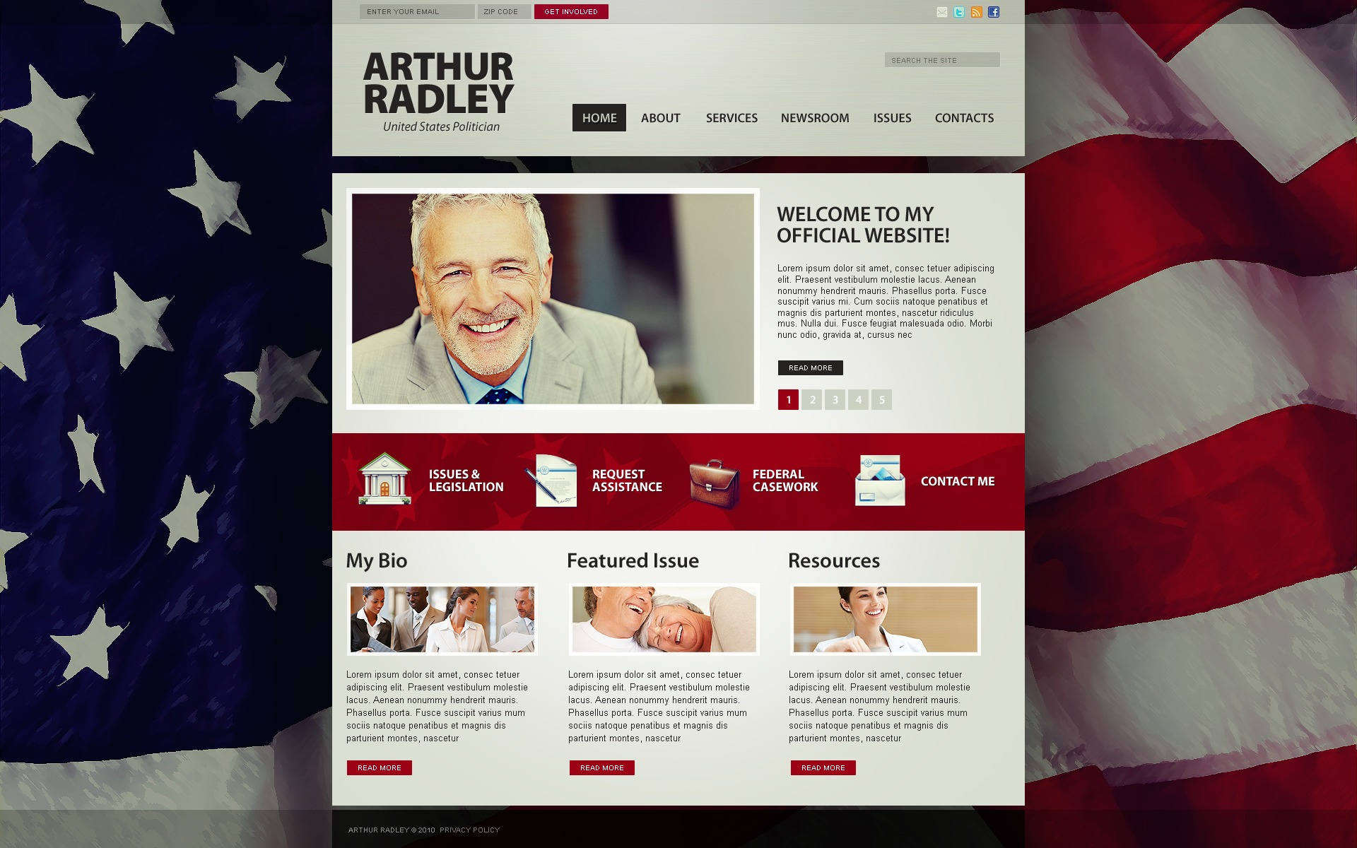 The Arthur Radley Politician PSD Design 54232, one of the best PSD templates of its kind (politics, most popular, wide, jquery), also known as Arthur Radley politician PSD template, political organization PSD template, leader PSD template, chairman PSD template, campaign PSD template, constitution PSD template, member PSD template, principles PSD template, information PSD template, donation PSD template, platform PSD template, flag PSD template, candidates PSD template, debates PSD template, structure PSD template, election PSD template, program PSD template, priority and related with Arthur Radley politician, political organization, leader, chairman, campaign, constitution, member, principles, information, donation, platform, flag, candidates, debates, structure, election, program, priority, etc.