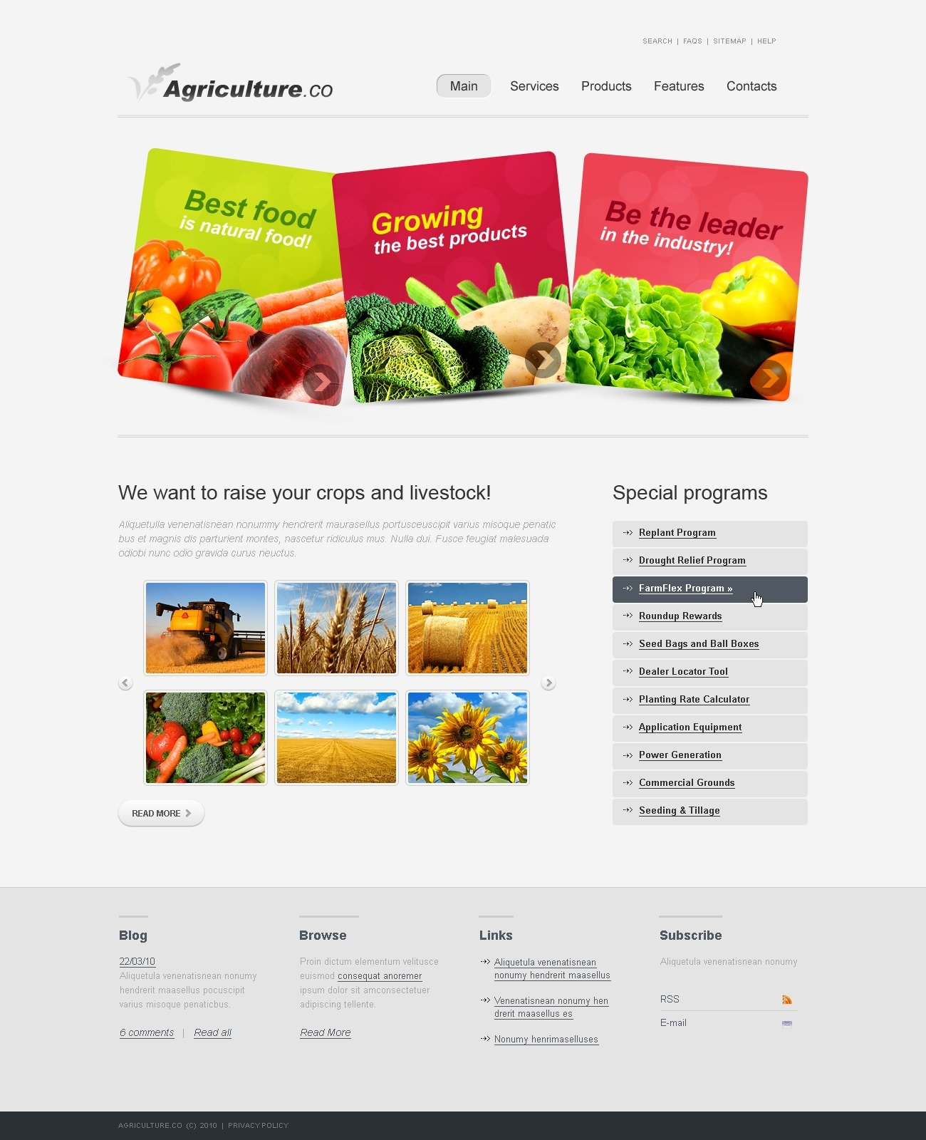 The Agriculture Company PSD Design 54234, one of the best PSD templates of its kind (agriculture, wide, jquery), also known as agriculture company PSD template, business PSD template, grain-crops PSD template, cereals PSD template, field PSD template, combine PSD template, harvest PSD template, farming PSD template, plants PSD template, services PSD template, products solutions PSD template, market PSD template, delivery PSD template, resource PSD template, grassland PSD template, equipment PSD template, nitrates PSD template, fertilizer PSD template, clients PSD template, partners PSD template, innovations PSD template, support PSD template, information dealer PSD template, stocks PSD template, tea and related with agriculture company, business, grain-crops, cereals, field, combine, harvest, farming, plants, services, products solutions, market, delivery, resource, grassland, equipment, nitrates, fertilizer, clients, partners, innovations, support, information dealer, stocks, tea, etc.