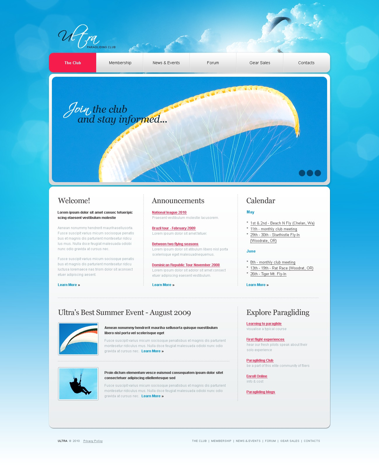 The Ultra Paragliding Club PSD Design 54238, one of the best PSD templates of its kind (sport, flash 8, wide), also known as ultra paragliding club PSD template, flight PSD template, paraglider PSD template, parachute PSD template, canopy PSD template, paramotoring PSD template, parascending PSD template, glider and related with ultra paragliding club, flight, paraglider, parachute, canopy, paramotoring, parascending, glider, etc.