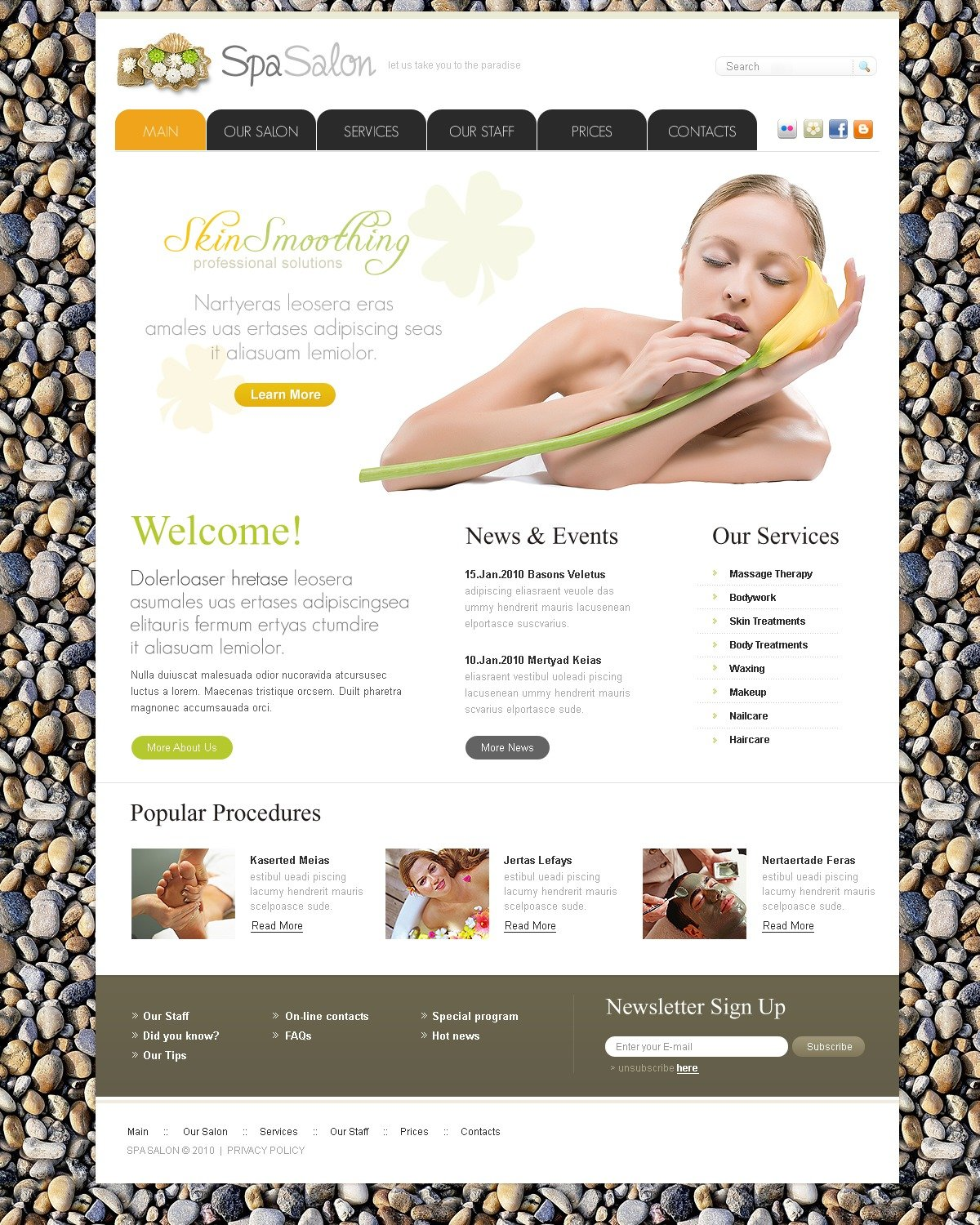 The SPA Salon Beauty PSD Design 54242, one of the best PSD templates of its kind (beauty, flash 8, wide), also known as SPA salon beauty PSD template, cosmetic PSD template, weight loss PSD template, massage PSD template, facial PSD template, body PSD template, style PSD template, product PSD template, staff PSD template, professional PSD template, decorative PSD template, foundation PSD template, cream care PSD template, lipstick PSD template, mascara PSD template, powder PSD template, rouge PSD template, skin PSD template, perfume PSD template, makeup PSD template, education PSD template, consultation PSD template, research PSD template, technology PSD template, special offer PSD template, fashion PSD template, hydrotherapy and related with SPA salon beauty, cosmetic, weight loss, massage, facial, body, style, product, staff, professional, decorative, foundation, cream care, lipstick, mascara, powder, rouge, skin, perfume, makeup, education, consultation, research, technology, special offer, fashion, hydrotherapy, etc.