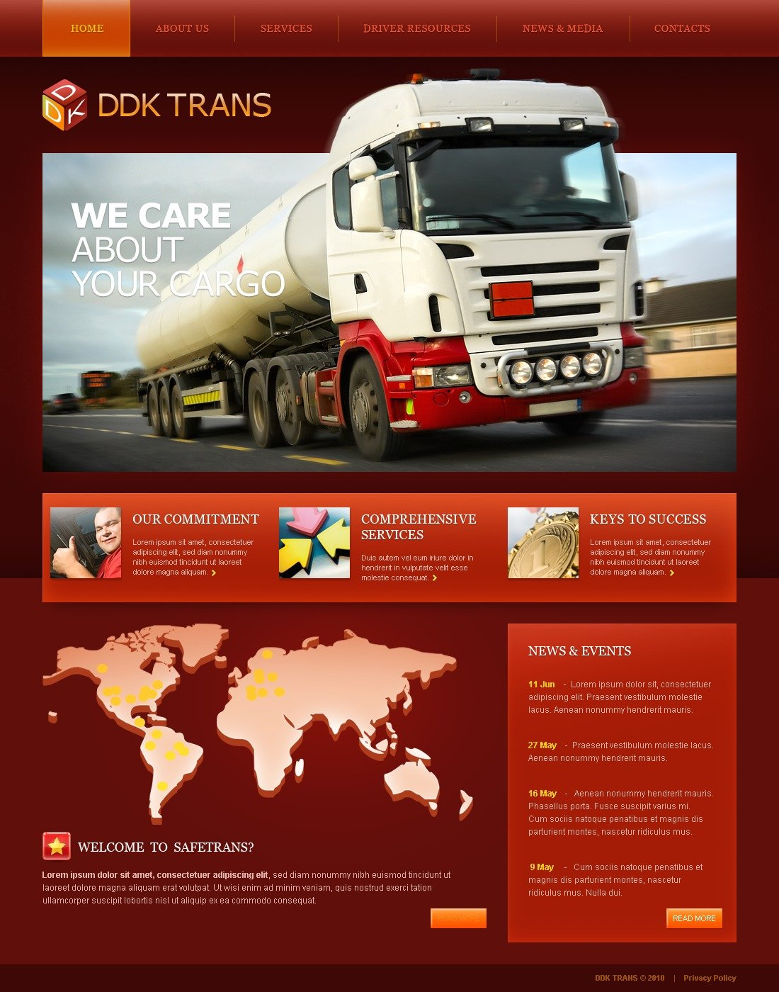 The DDK Trans Transportation Company PSD Design 54244, one of the best PSD templates of its kind (transportation, flash 8, wide), also known as DDK Trans transportation company PSD template, transport PSD template, fast PSD template, reliability PSD template, safety PSD template, express PSD template, exportation PSD template, trucking PSD template, work PSD template, team PSD template, profile PSD template, support PSD template, customer PSD template, clients solutions PSD template, cars PSD template, cargo PSD template, services PSD template, shipment PSD template, rates PSD template, prices PSD template, offer PSD template, standards PSD template, vehicle PSD template, destination PSD template, trucking PSD template, sea PSD template, air PSD template, help and related with DDK Trans transportation company, transport, fast, reliability, safety, express, exportation, trucking, work, team, profile, support, customer, clients solutions, cars, cargo, services, shipment, rates, prices, offer, standards, vehicle, destination, trucking, sea, air, help, etc.