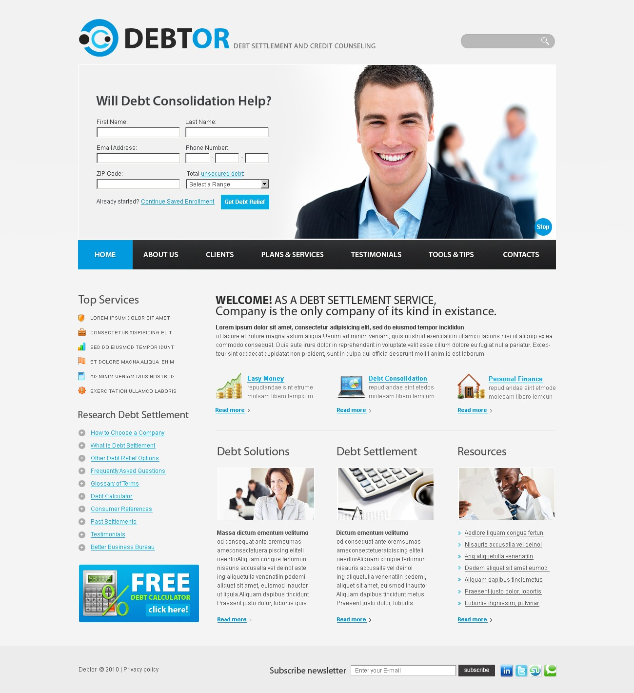 The Debtor Debt Settlement PSD Design 54246, one of the best PSD templates of its kind (business, flash 8, wide), also known as Debtor debt settlement PSD template, business company PSD template, corporate solutions PSD template, innovations PSD template, contacts PSD template, service PSD template, support PSD template, information dealer PSD template, stocks PSD template, team PSD template, success PSD template, money PSD template, marketing PSD template, director PSD template, manager PSD template, analytics PSD template, planning PSD template, limited PSD template, office PSD template, sales and related with Debtor debt settlement, business company, corporate solutions, innovations, contacts, service, support, information dealer, stocks, team, success, money, marketing, director, manager, analytics, planning, limited, office, sales, etc.