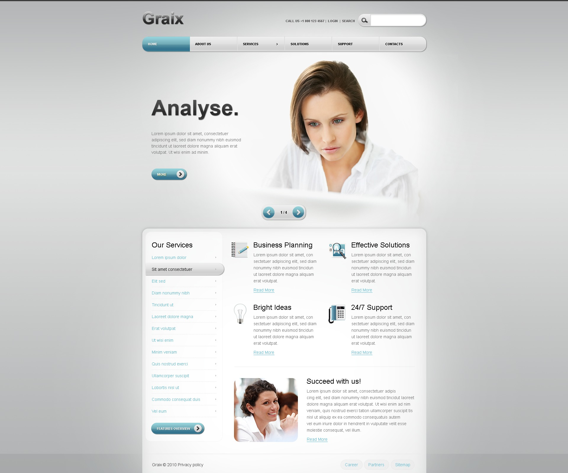 The Graix Business Company PSD Design 54254, one of the best PSD templates of its kind (business, wide, jquery), also known as graix business company PSD template, corporate solutions PSD template, innovations PSD template, contacts PSD template, service PSD template, support PSD template, information dealer PSD template, stocks PSD template, team PSD template, success PSD template, money PSD template, marketing PSD template, director PSD template, manager PSD template, analytics PSD template, planning PSD template, limited PSD template, office PSD template, sales and related with graix business company, corporate solutions, innovations, contacts, service, support, information dealer, stocks, team, success, money, marketing, director, manager, analytics, planning, limited, office, sales, etc.