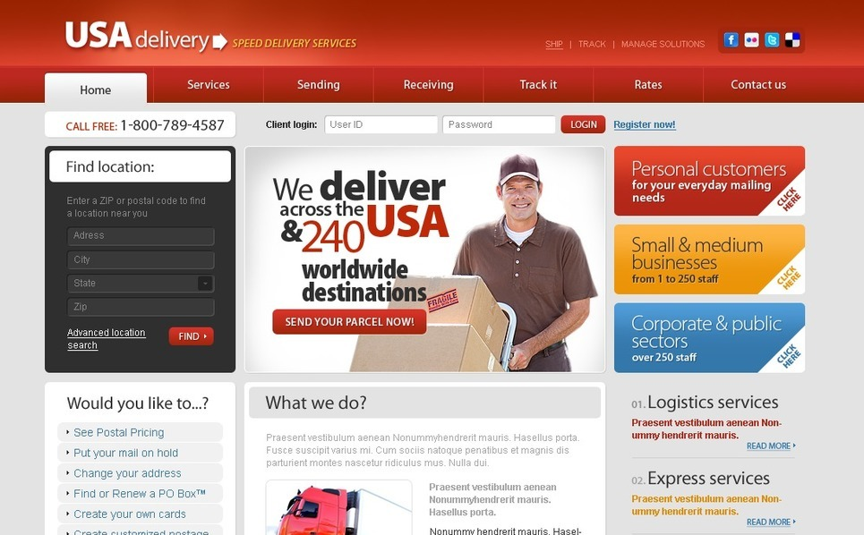 Template Photoshop  para Sites de Serviços de Frete №54256 New Screenshots BIG