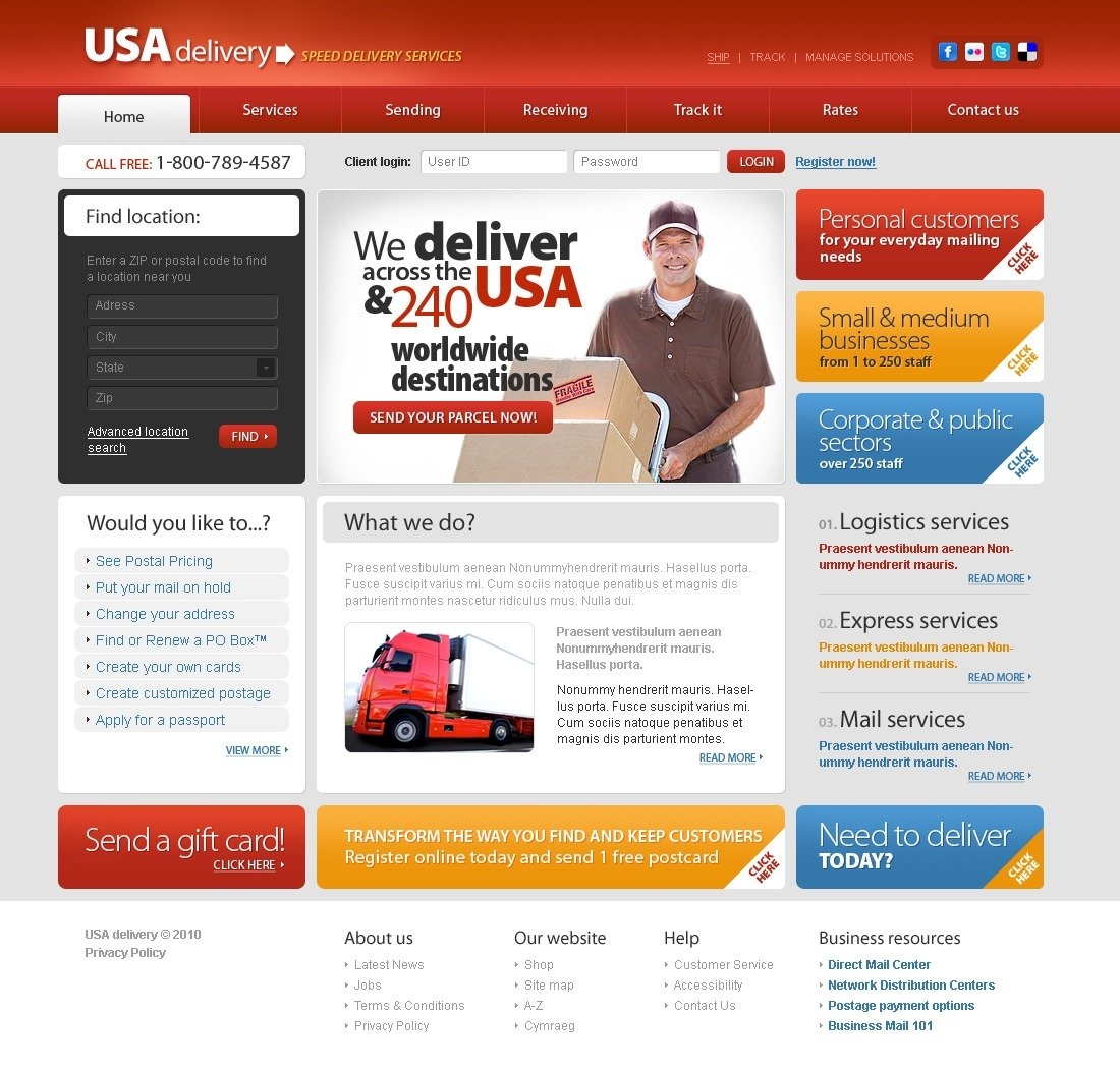 The USA Delivery Deliverix PSD Design 54256, one of the best PSD templates of its kind (transportation, most popular, wide, maintenance services), also known as USA delivery deliverix PSD template, transportation company PSD template, transport PSD template, fast PSD template, reliability PSD template, safety PSD template, express PSD template, exportation PSD template, trucking PSD template, delivery PSD template, work PSD template, team PSD template, profile PSD template, support PSD template, customer PSD template, clients solutions PSD template, cars PSD template, cargo PSD template, services PSD template, shipment PSD template, rates PSD template, prices PSD template, offer PSD template, standards PSD template, vehicle PSD template, destination PSD template, trucki and related with USA delivery deliverix, transportation company, transport, fast, reliability, safety, express, exportation, trucking, delivery, work, team, profile, support, customer, clients solutions, cars, cargo, services, shipment, rates, prices, offer, standards, vehicle, destination, trucki, etc.