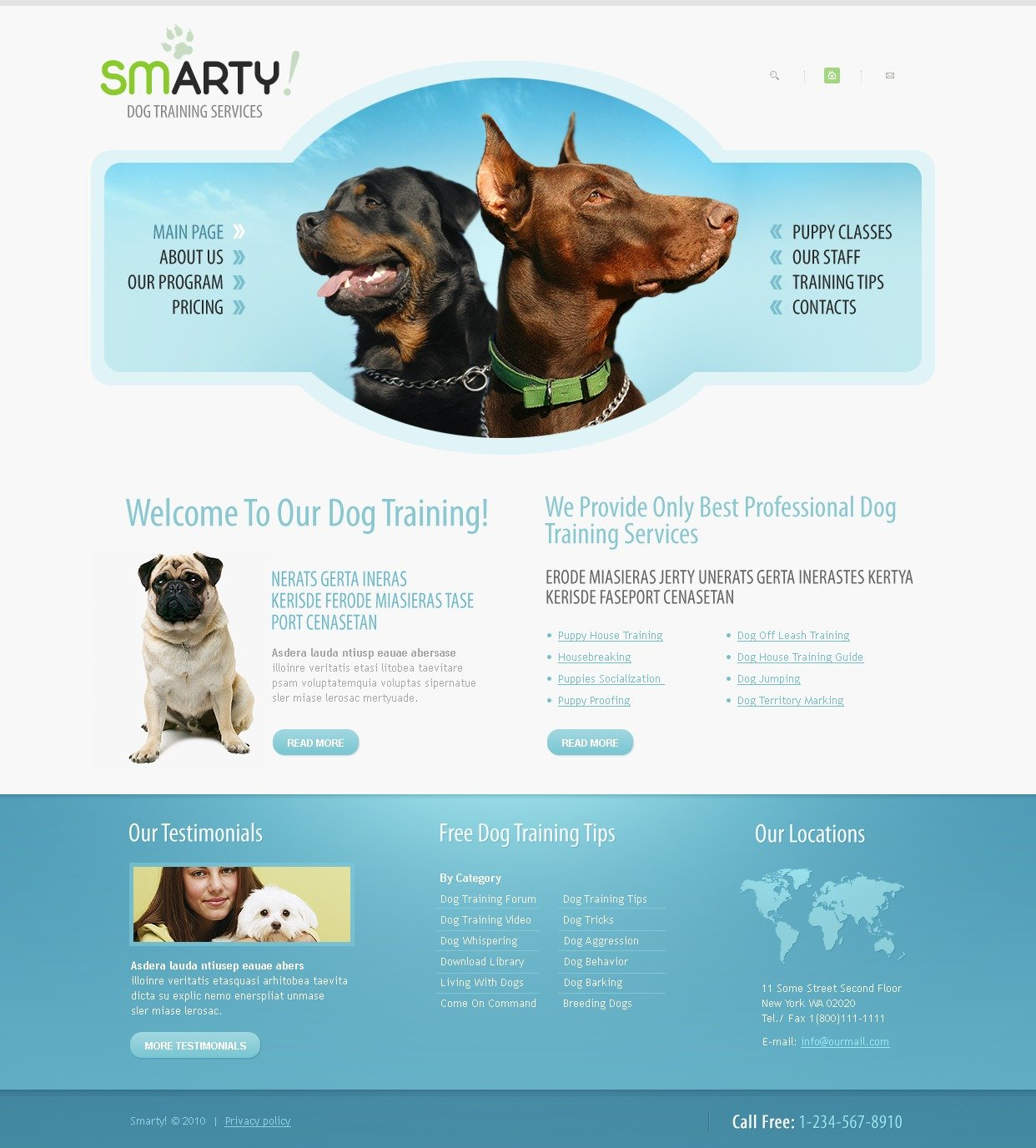 The Smarty Dog PSD Design 54264, one of the best PSD templates of its kind (animals & pets, wide), also known as smarty dog PSD template, pet PSD template, train PSD template, training PSD template, program PSD template, puppy PSD template, classes PSD template, kennel PSD template, behavior PSD template, obedience PSD template, lessons PSD template, socialization PSD template, trainer and related with smarty dog, pet, train, training, program, puppy, classes, kennel, behavior, obedience, lessons, socialization, trainer, etc.