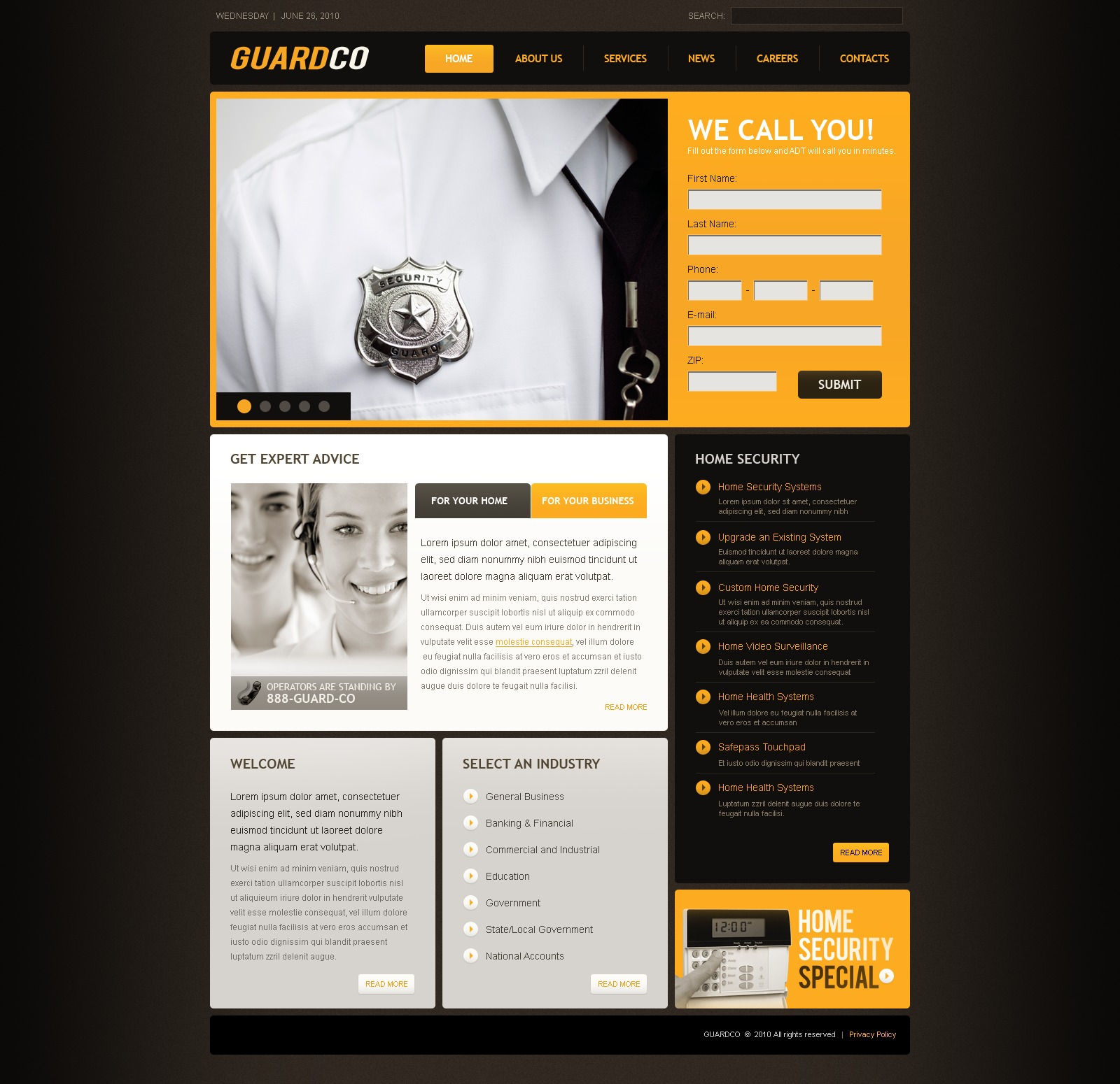 The Guard Company PSD Design 54266, one of the best PSD templates of its kind (security, flash 8, wide), also known as guard company PSD template, security PSD template, services PSD template, secure PSD template, safe PSD template, safety PSD template, safeguard PSD template, protection system PSD template, information PSD template, data PSD template, service solution PSD template, business PSD template, home and related with guard company, security, services, secure, safe, safety, safeguard, protection system, information, data, service solution, business, home, etc.