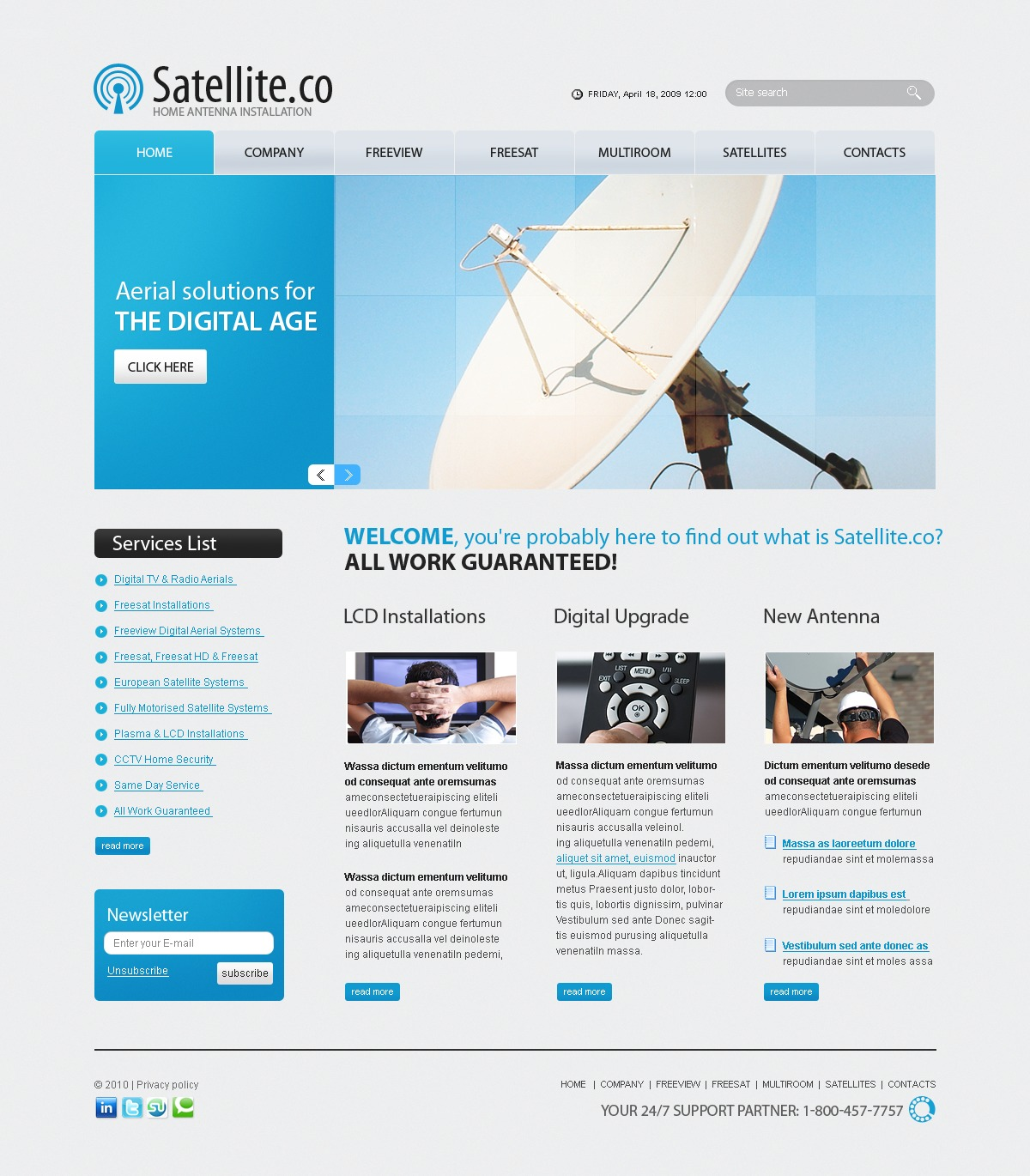 The Satelite Company PSD Design 54268, one of the best PSD templates of its kind (communications, most popular, flash 8, wide), also known as satelite company PSD template, aeriax PSD template, antenner PSD template, satellites PSD template, aerials PSD template, plasma PSD template, tv PSD template, services PSD template, installation PSD template, sales PSD template, antenna and related with satelite company, aeriax, antenner, satellites, aerials, plasma, tv, services, installation, sales, antenna, etc.