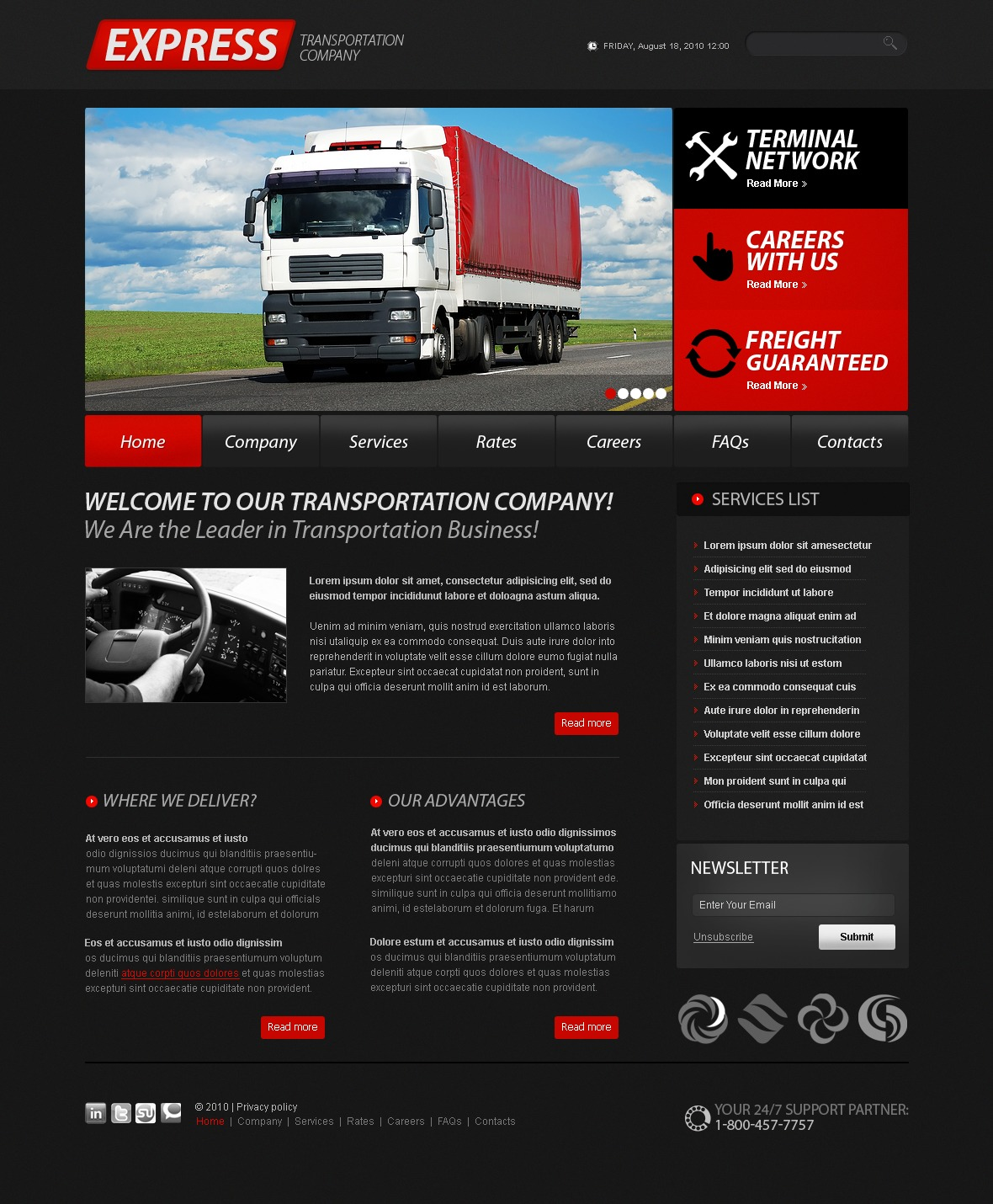 The Express Transportation Company PSD Design 54273, one of the best PSD templates of its kind (transportation, flash 8, wide), also known as express transportation company PSD template, transport PSD template, fast PSD template, reliability PSD template, safety PSD template, express PSD template, exportation PSD template, trucking PSD template, work PSD template, team PSD template, profile PSD template, support PSD template, customer PSD template, clients solutions PSD template, cars PSD template, cargo PSD template, services PSD template, shipment PSD template, rates PSD template, prices PSD template, offer PSD template, standards PSD template, vehicle PSD template, destination PSD template, trucking PSD template, sea PSD template, air PSD template, help and related with express transportation company, transport, fast, reliability, safety, express, exportation, trucking, work, team, profile, support, customer, clients solutions, cars, cargo, services, shipment, rates, prices, offer, standards, vehicle, destination, trucking, sea, air, help, etc.