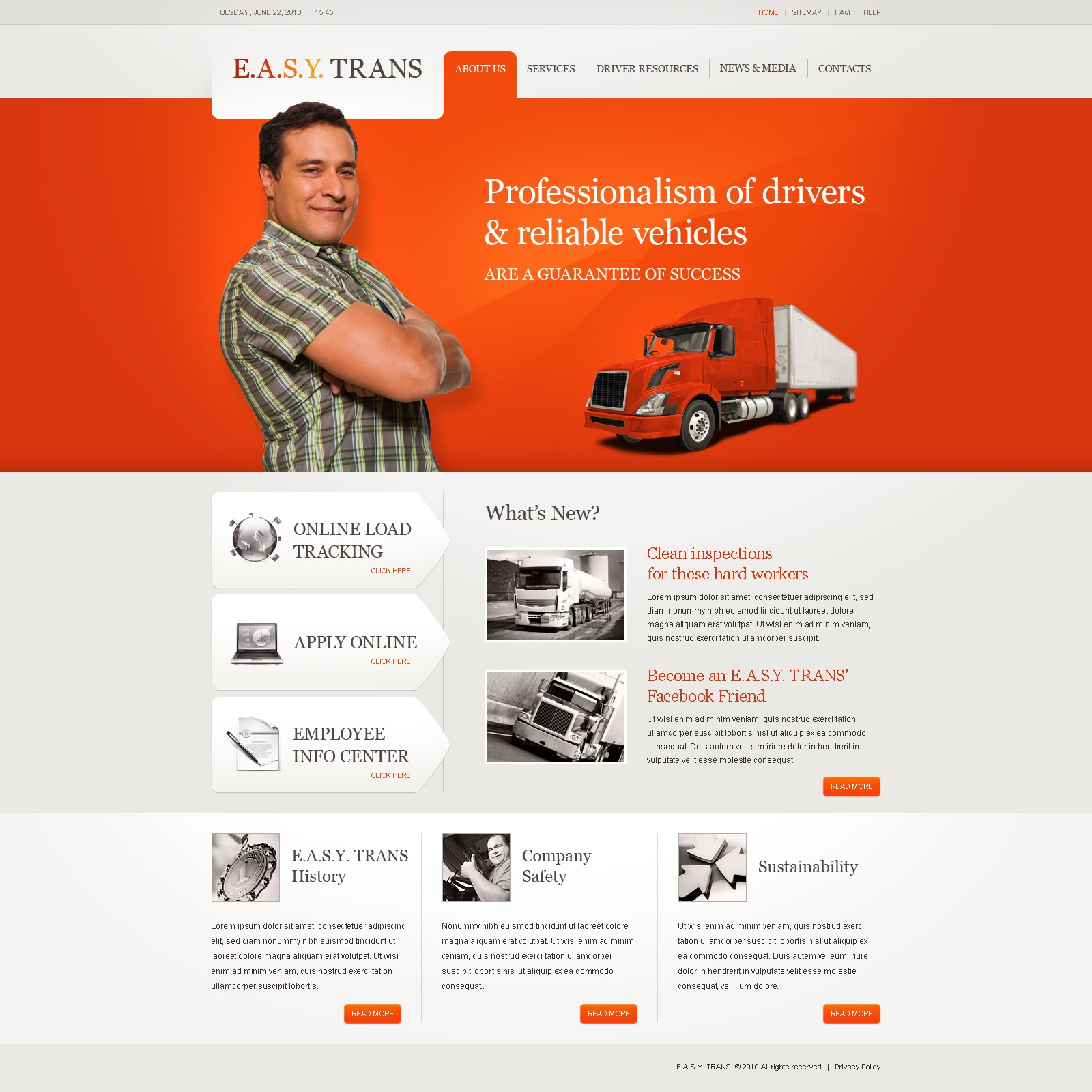 The E A PSD Design 54278, one of the best PSD templates of its kind (transportation, most popular, flash 8, wide), also known as e a PSD template, s PSD template, y PSD template, trans PSD template, transportation company PSD template, transport PSD template, fast PSD template, reliability PSD template, safety PSD template, express PSD template, exportation PSD template, trucking PSD template, work PSD template, team PSD template, profile PSD template, support PSD template, customer PSD template, clients solutions PSD template, cars PSD template, cargo PSD template, services PSD template, shipment PSD template, rates PSD template, prices PSD template, offer PSD template, standards PSD template, vehicle PSD template, destination PSD template, trucking PSD template, sea PSD template, air PSD template, help and related with e a, s, y, trans, transportation company, transport, fast, reliability, safety, express, exportation, trucking, work, team, profile, support, customer, clients solutions, cars, cargo, services, shipment, rates, prices, offer, standards, vehicle, destination, trucking, sea, air, help, etc.