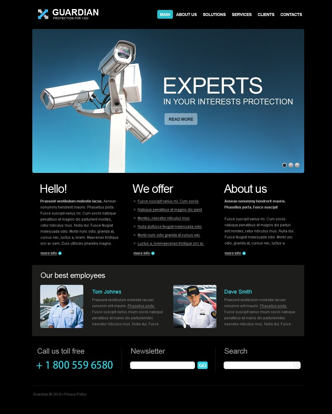 The Guardian Company PSD Design 54296, one of the best PSD templates of its kind (security, flash 8, wide), also known as guardian company PSD template, security PSD template, services PSD template, secure PSD template, safe PSD template, safety PSD template, safeguard PSD template, protection system PSD template, information PSD template, data PSD template, service solution PSD template, business PSD template, home and related with guardian company, security, services, secure, safe, safety, safeguard, protection system, information, data, service solution, business, home, etc.