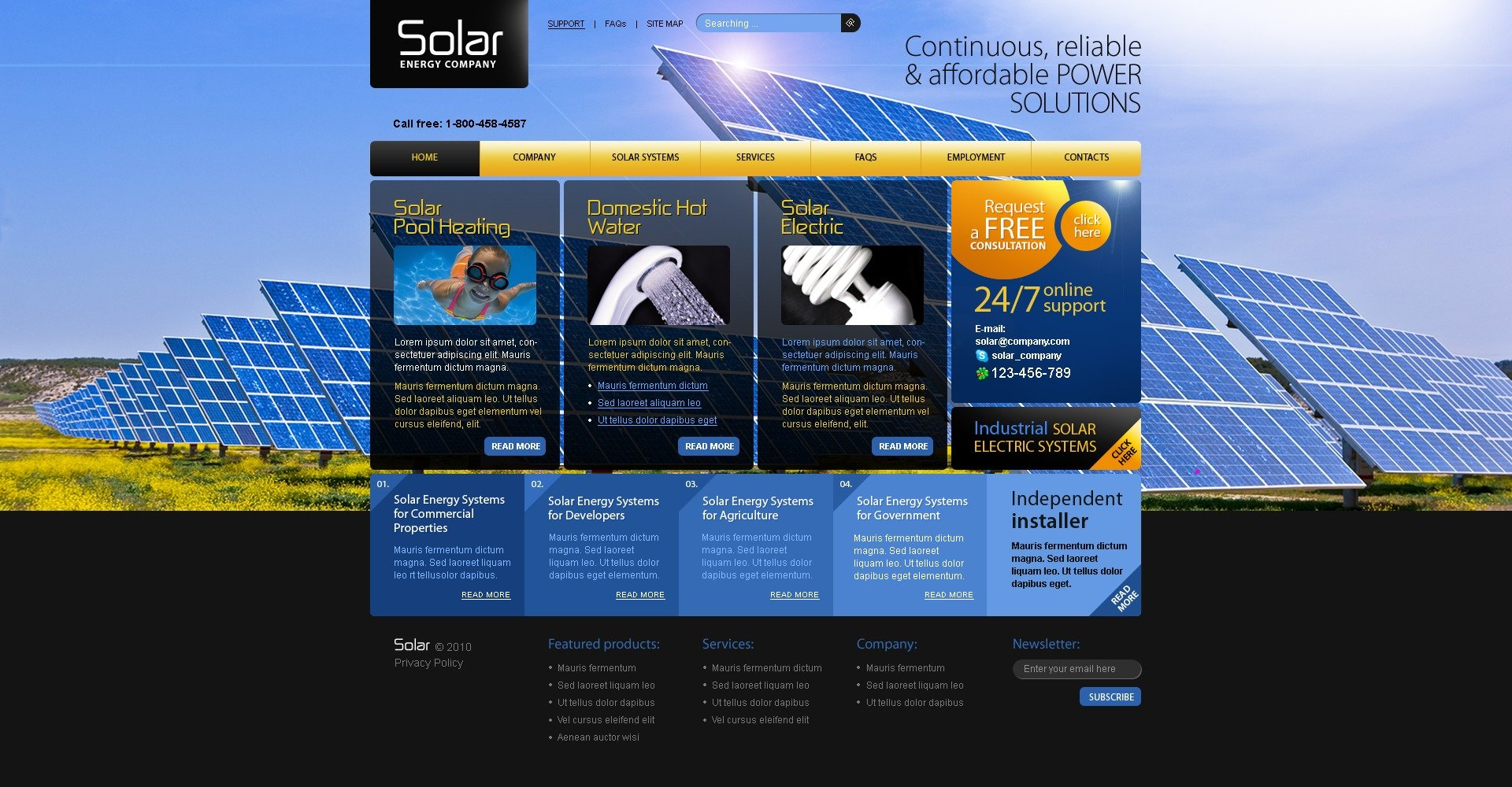 The Solar Energy Company System PSD Design 54297, one of the best PSD templates of its kind (most popular, flash 8, wide, alternative power), also known as solar energy company system PSD template, ecological PSD template, sun PSD template, clean environment PSD template, alternative PSD template, warm PSD template, heat and related with solar energy company system, ecological, sun, clean environment, alternative, warm, heat, etc.