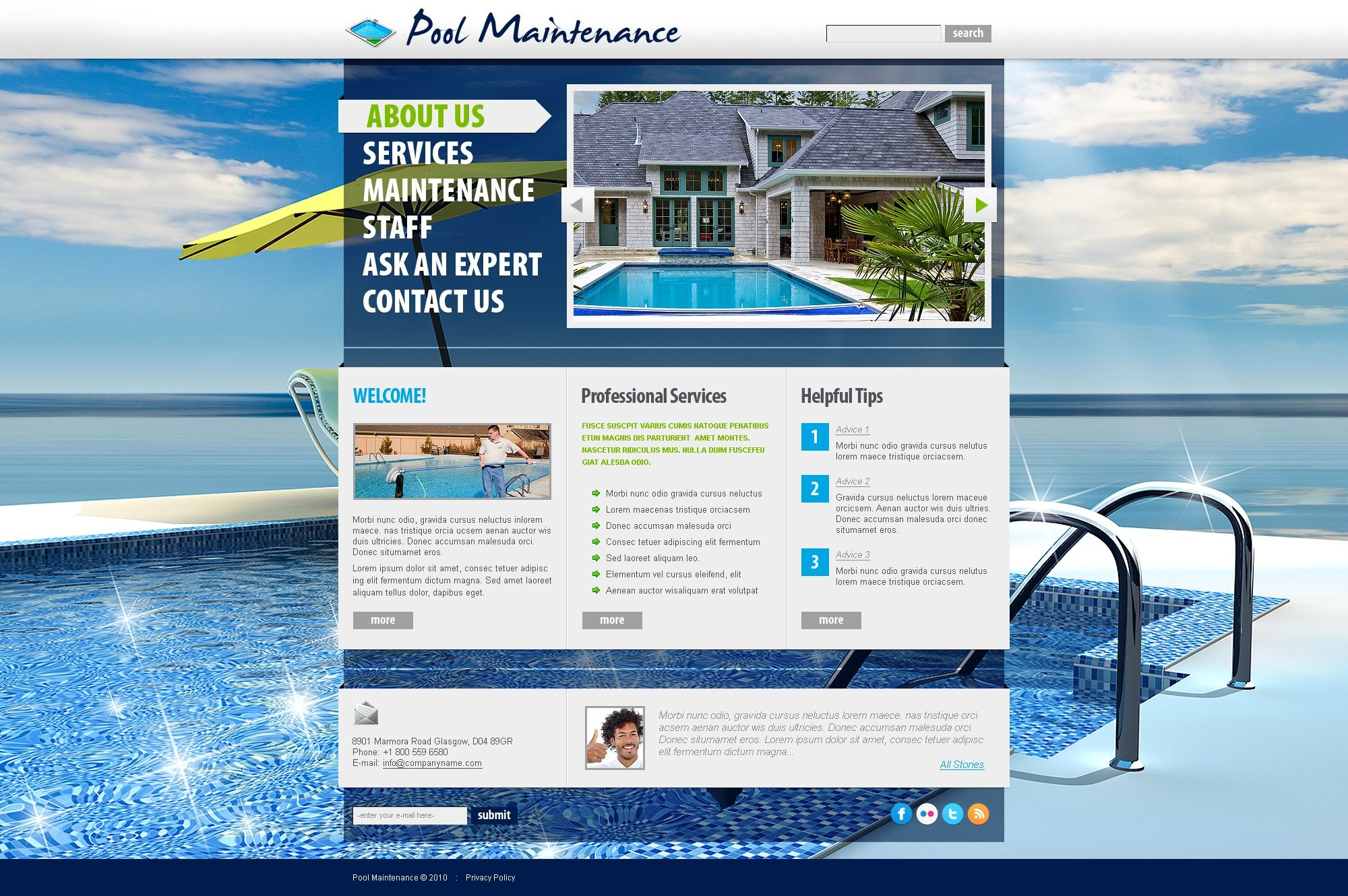 The Swimming Pool PSD Design 54298, one of the best PSD templates of its kind (most popular, flash 8, wide, maintenance services), also known as swimming pool PSD template, maintenance company PSD template, cleaning PSD template, services PSD template, estimate PSD template, cleaner PSD template, dirty PSD template, testimonials PSD template, professional PSD template, workteam PSD template, tips PSD template, client PSD template, price PSD template, tidying up PSD template, sponge PSD template, decoration PSD template, preventative PSD template, plumbing PSD template, repair PSD template, resurfacing PSD template, painting PSD template, fiberglass PSD template, plaster PSD template, deck PSD template, drainage PSD template, renovation and related with swimming pool, maintenance company, cleaning, services, estimate, cleaner, dirty, testimonials, professional, workteam, tips, client, price, tidying up, sponge, decoration, preventative, plumbing, repair, resurfacing, painting, fiberglass, plaster, deck, drainage, renovation, etc.