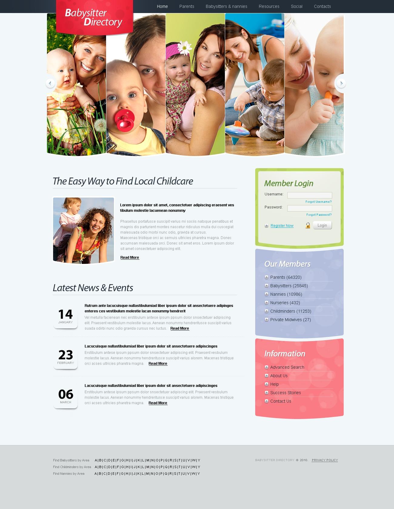 Babysitter PSD Template - screenshot