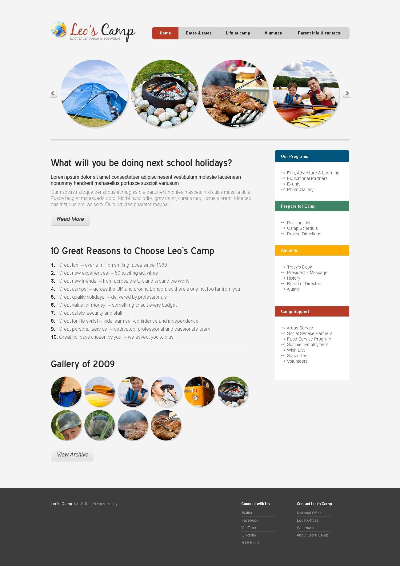 Camping PSD Template