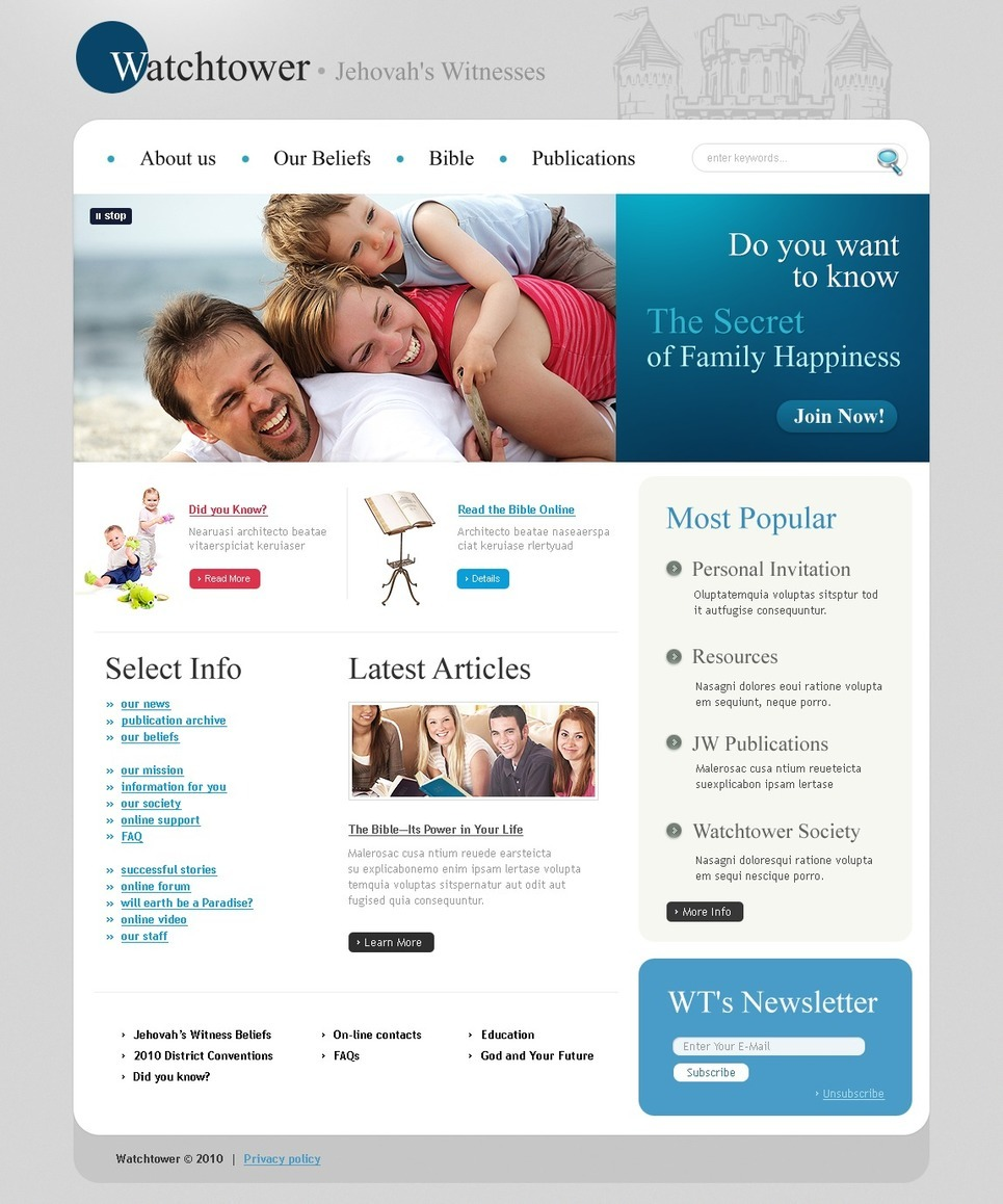 Jehovah Witnesses PSD Template New Screenshots BIG