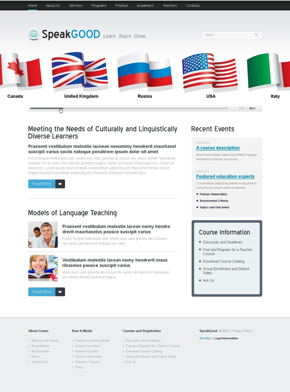 Language School PSD Template New Screenshots BIG