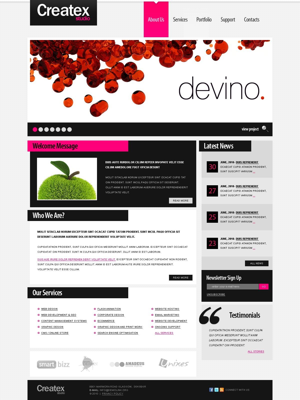 Tema psd 54272 per un sito di design studio for Sito di design