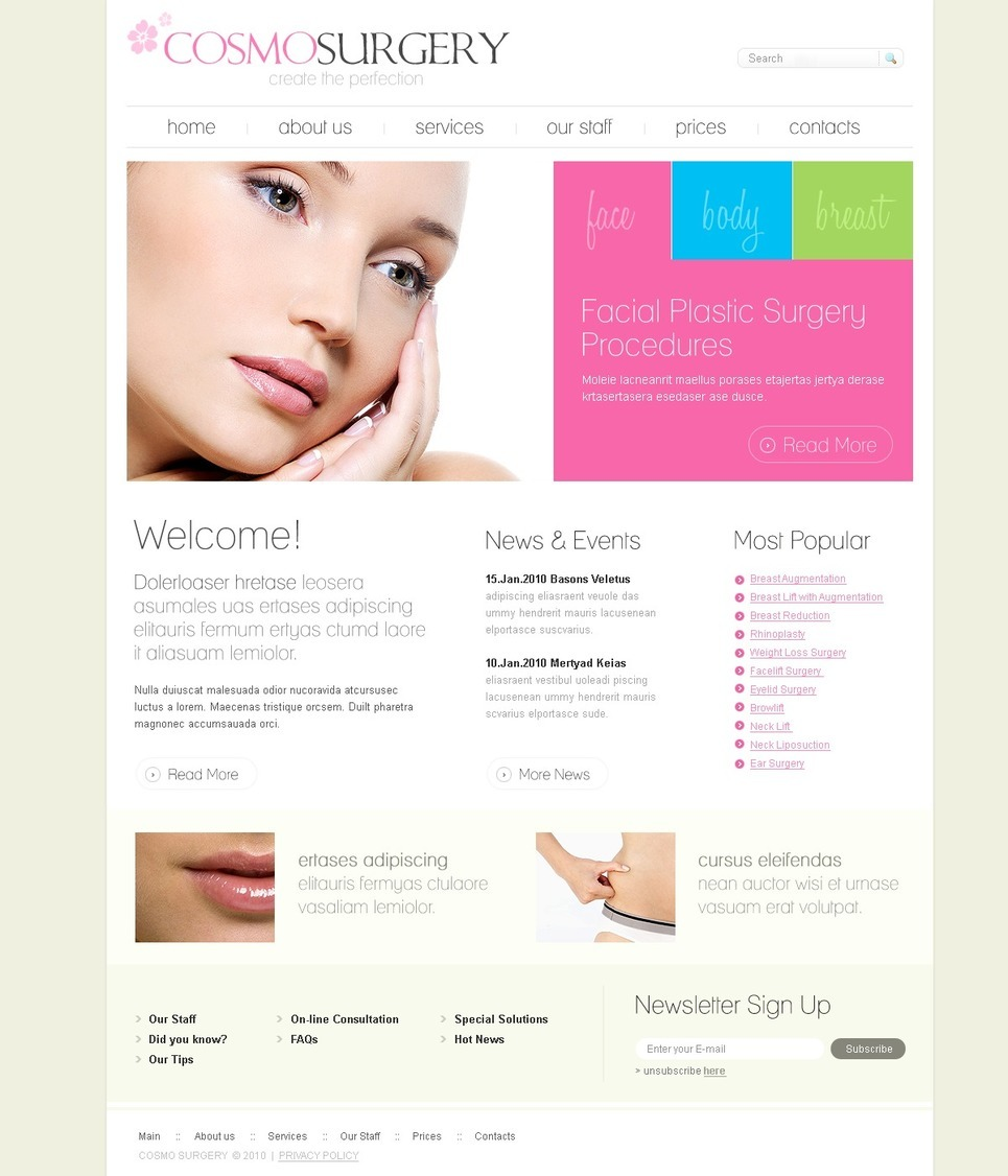 Plastic Surgery PSD Template New Screenshots BIG