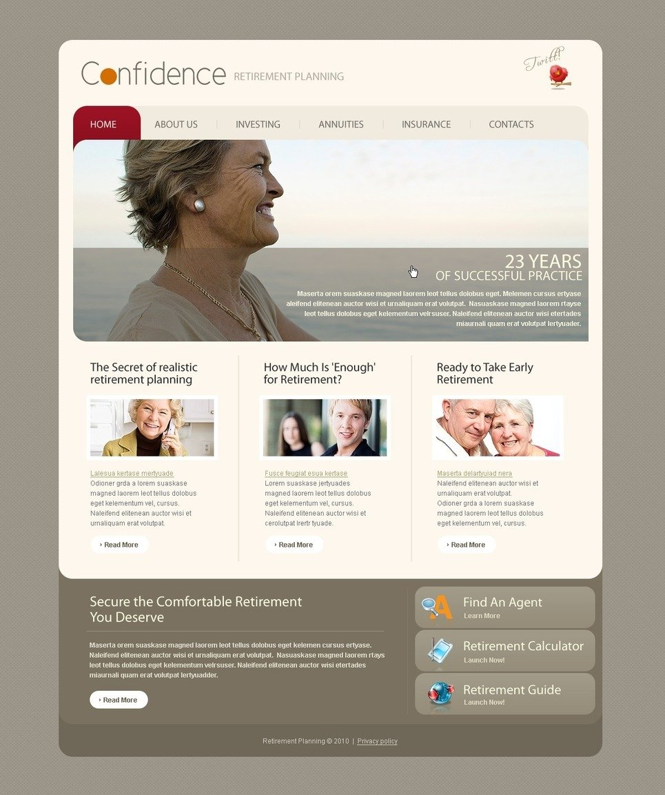 Retirement Planning PSD Template New Screenshots BIG