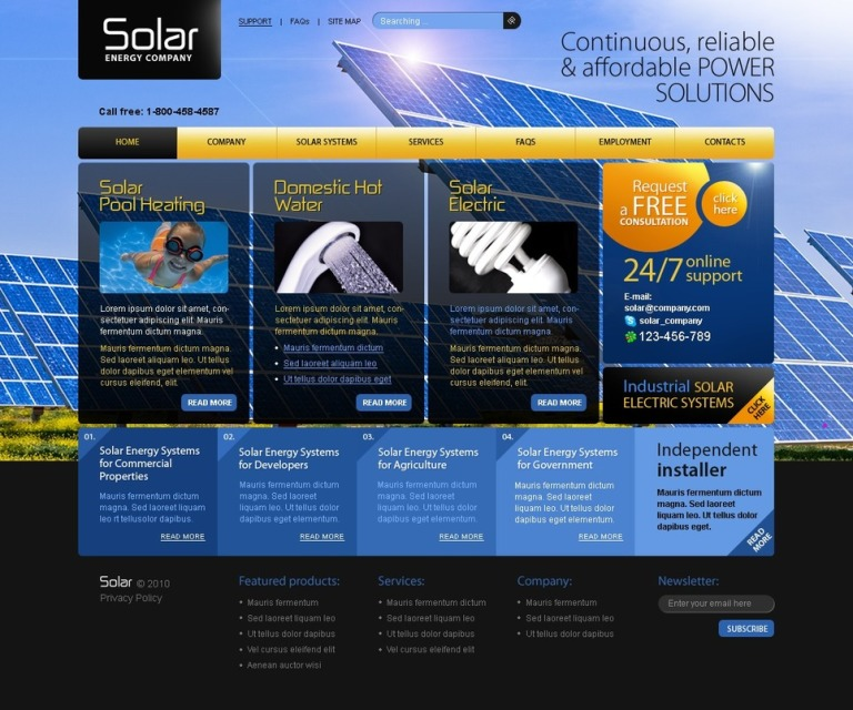 Solar Energy PSD Template New Screenshots BIG