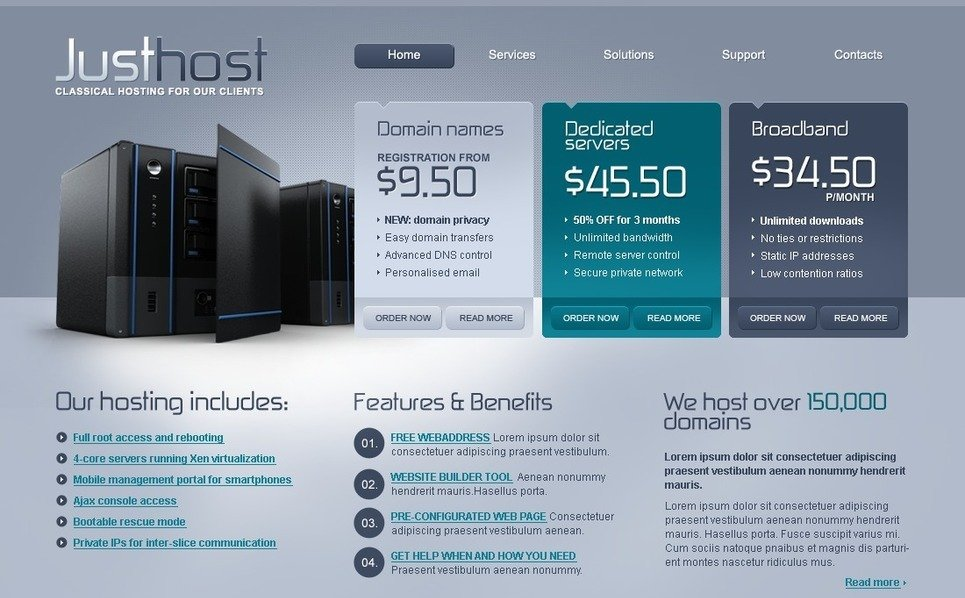 Plantilla PSD #54302 para Sitio de Hosting New Screenshots BIG
