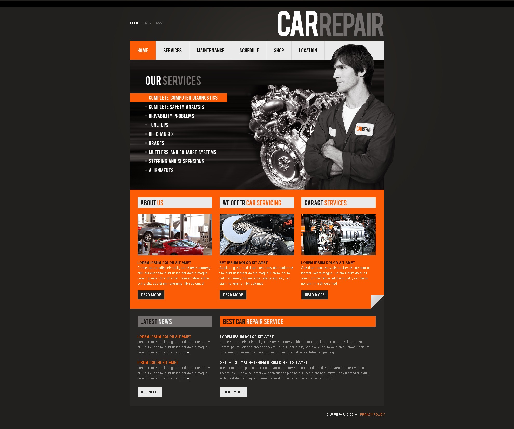 The Car Repair PSD Design 54303, one of the best PSD templates of its kind (cars, flash 8, wide), also known as car repair PSD template, recovery PSD template, repairs PSD template, automobile PSD template, auto PSD template, maintenance PSD template, service care PSD template, advice PSD template, station and related with car repair, recovery, repairs, automobile, auto, maintenance, service care, advice, station, etc.