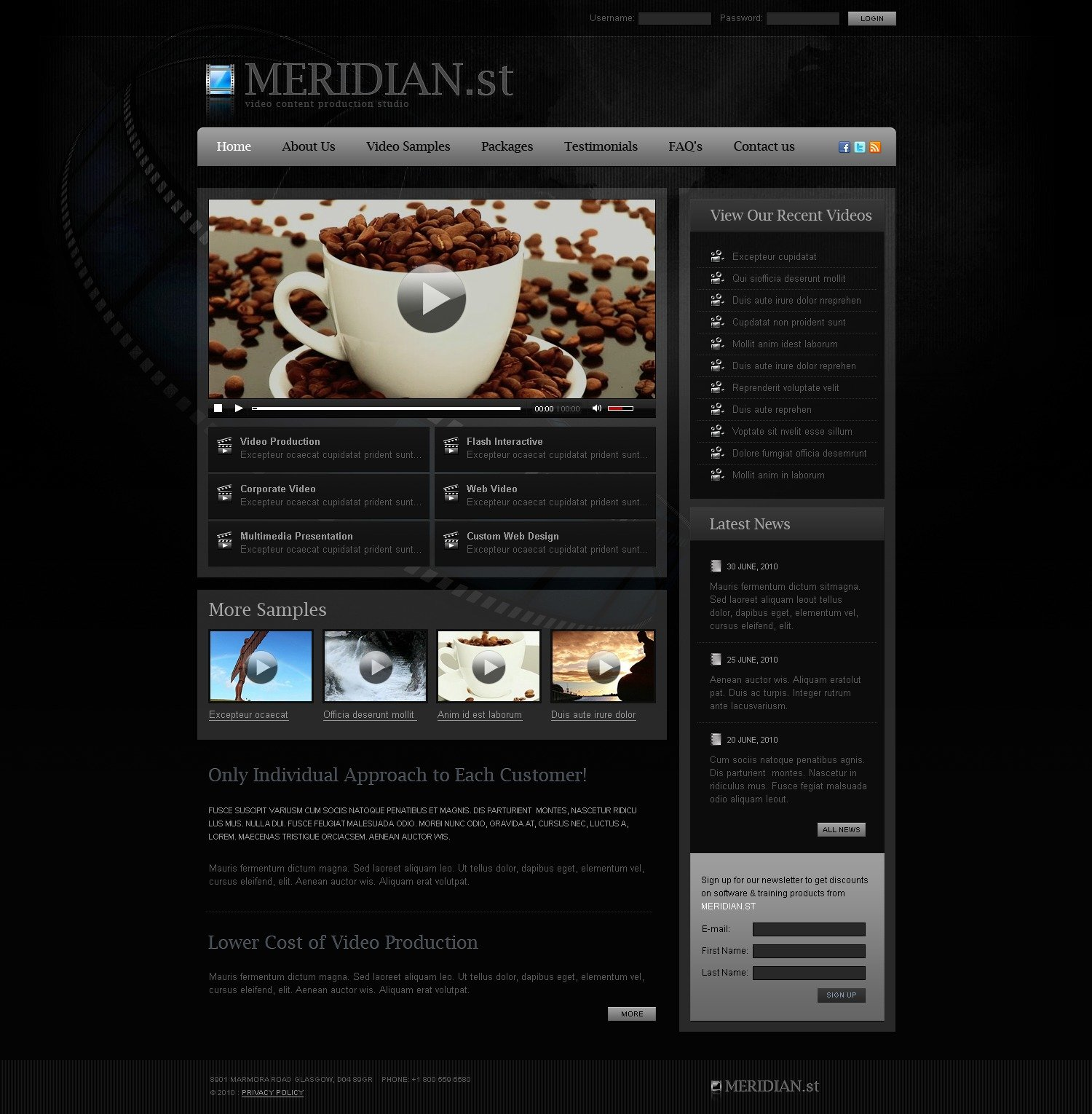 The Meridian St PSD Design 54304, one of the best PSD templates of its kind (media, most popular, flash 8, wide, black), also known as meridian st PSD template, video PSD template, content PSD template, production company PSD template, multimedia PSD template, animation PSD template, web photo PSD template, photos PSD template, photography PSD template, music PSD template, sound PSD template, sounds PSD template, mp3 PSD template, avi PSD template, mp4 and related with meridian st, video, content, production company, multimedia, animation, web photo, photos, photography, music, sound, sounds, mp3, avi, mp4, etc.