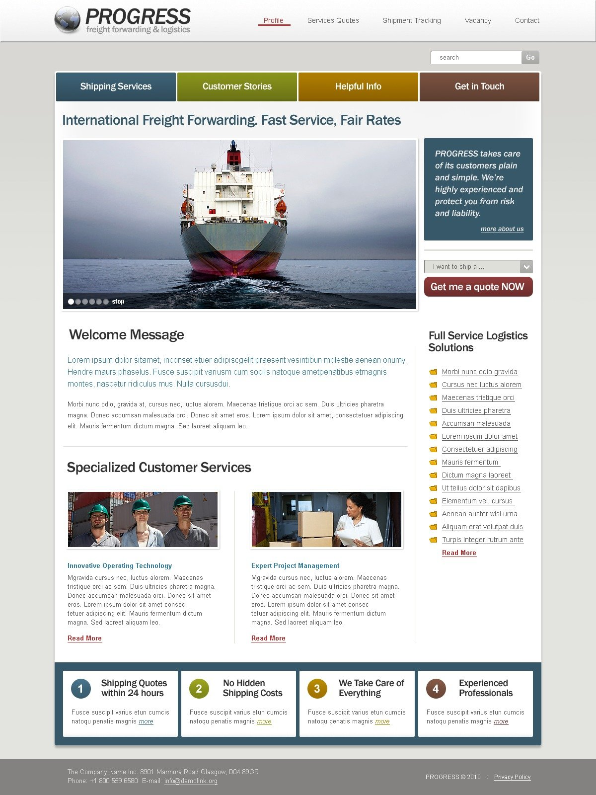 The Freight Forwarding PSD Design 54306, one of the best PSD templates of its kind (transportation, most popular, flash 8, wide), also known as freight forwarding PSD template, logistics company PSD template, services PSD template, delivery PSD template, shipping PSD template, transportation PSD template, trucking provider and related with freight forwarding, logistics company, services, delivery, shipping, transportation, trucking provider, etc.