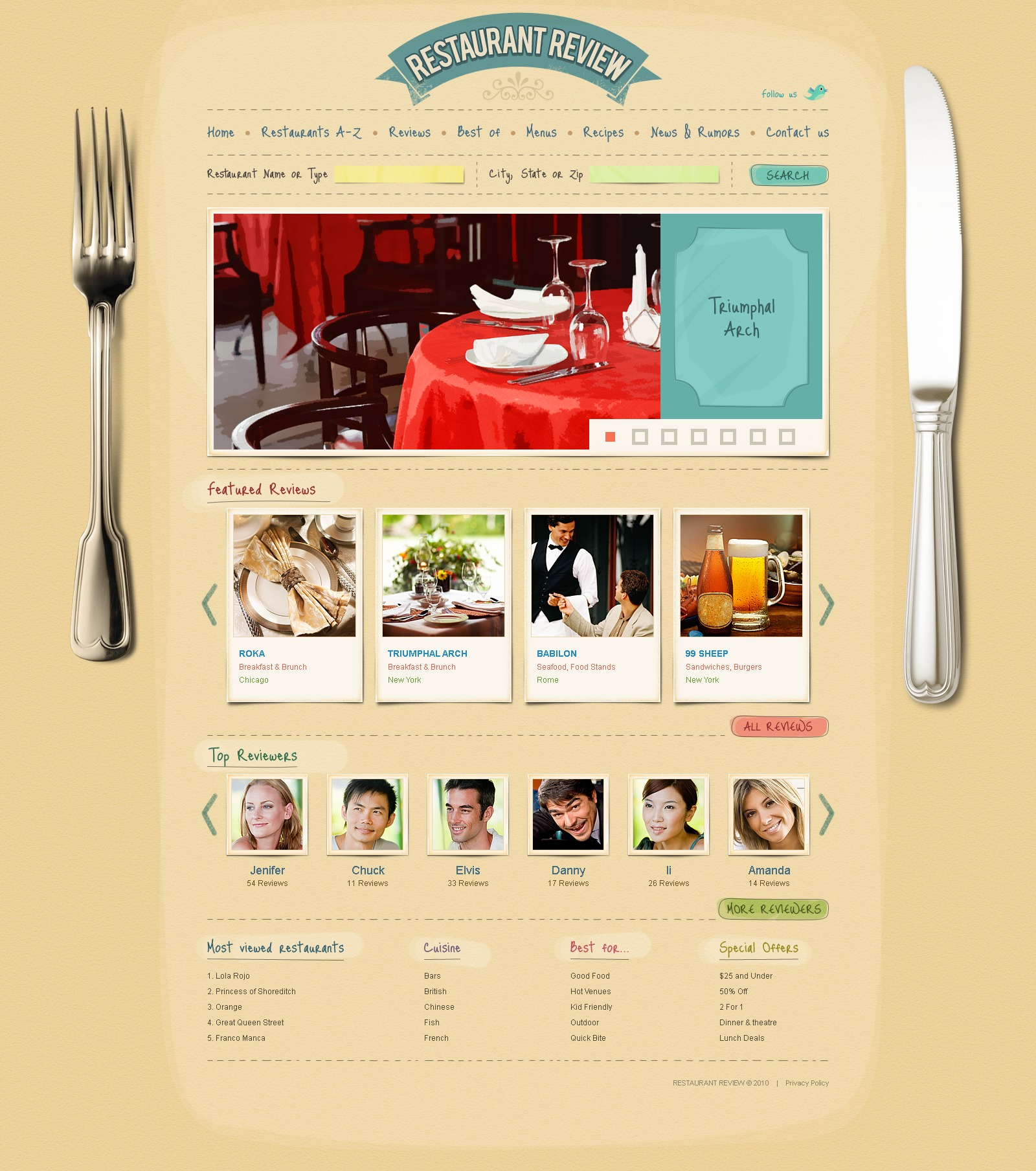 The Review Restaurant PSD Design 54308, one of the best PSD templates of its kind (cafe and restaurant, flash 8, wide, jquery), also known as review restaurant PSD template, food PSD template, critic PSD template, reviewer PSD template, tasty PSD template, delicious PSD template, dish PSD template, menu PSD template, dining and related with review restaurant, food, critic, reviewer, tasty, delicious, dish, menu, dining, etc.