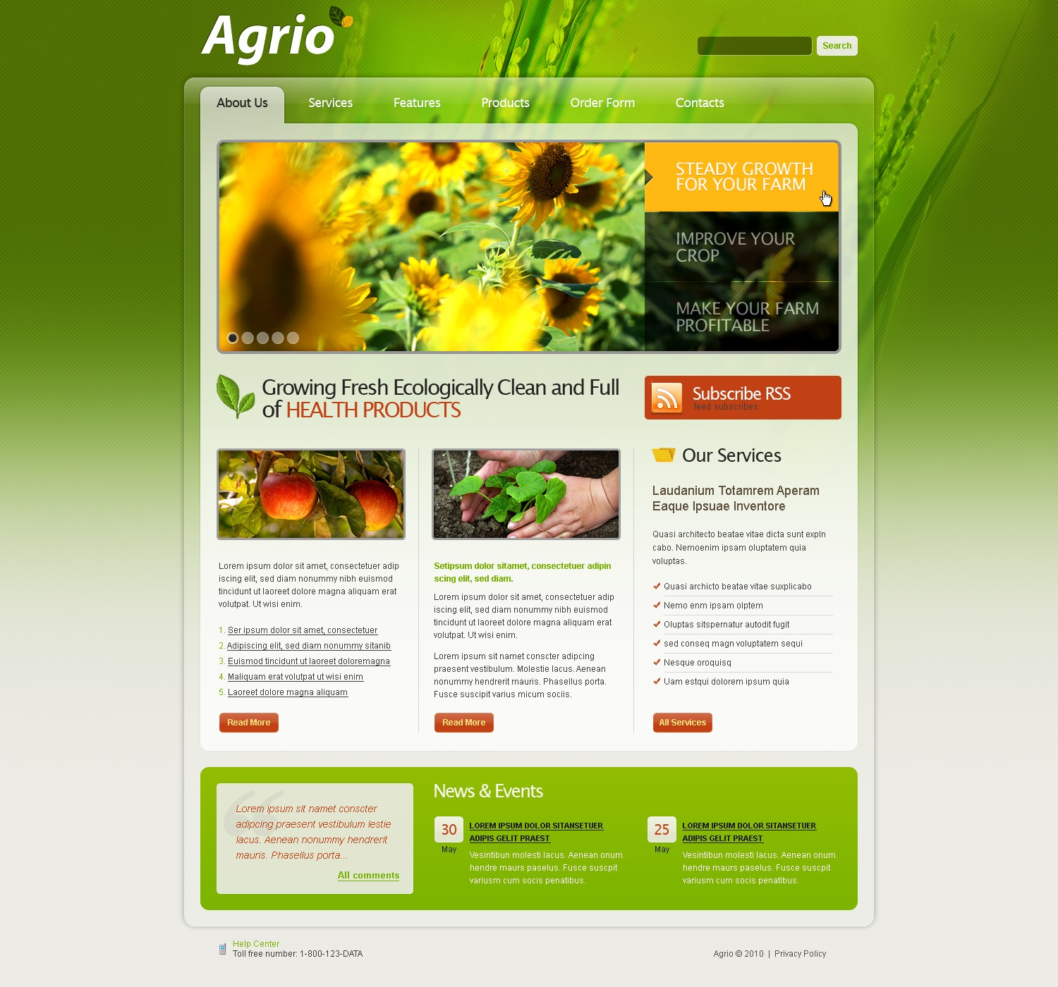 The Agriculture Company PSD Design 54313, one of the best PSD templates of its kind (agriculture, flash 8, wide), also known as agriculture company PSD template, business PSD template, grain-crops PSD template, cereals PSD template, field PSD template, combine PSD template, harvest PSD template, farming PSD template, plants PSD template, services PSD template, products solutions PSD template, market PSD template, delivery PSD template, resource PSD template, grassland PSD template, equipment PSD template, nitrates PSD template, fertilizer PSD template, clients PSD template, partners PSD template, innovations PSD template, support PSD template, information dealer PSD template, stocks PSD template, tea and related with agriculture company, business, grain-crops, cereals, field, combine, harvest, farming, plants, services, products solutions, market, delivery, resource, grassland, equipment, nitrates, fertilizer, clients, partners, innovations, support, information dealer, stocks, tea, etc.