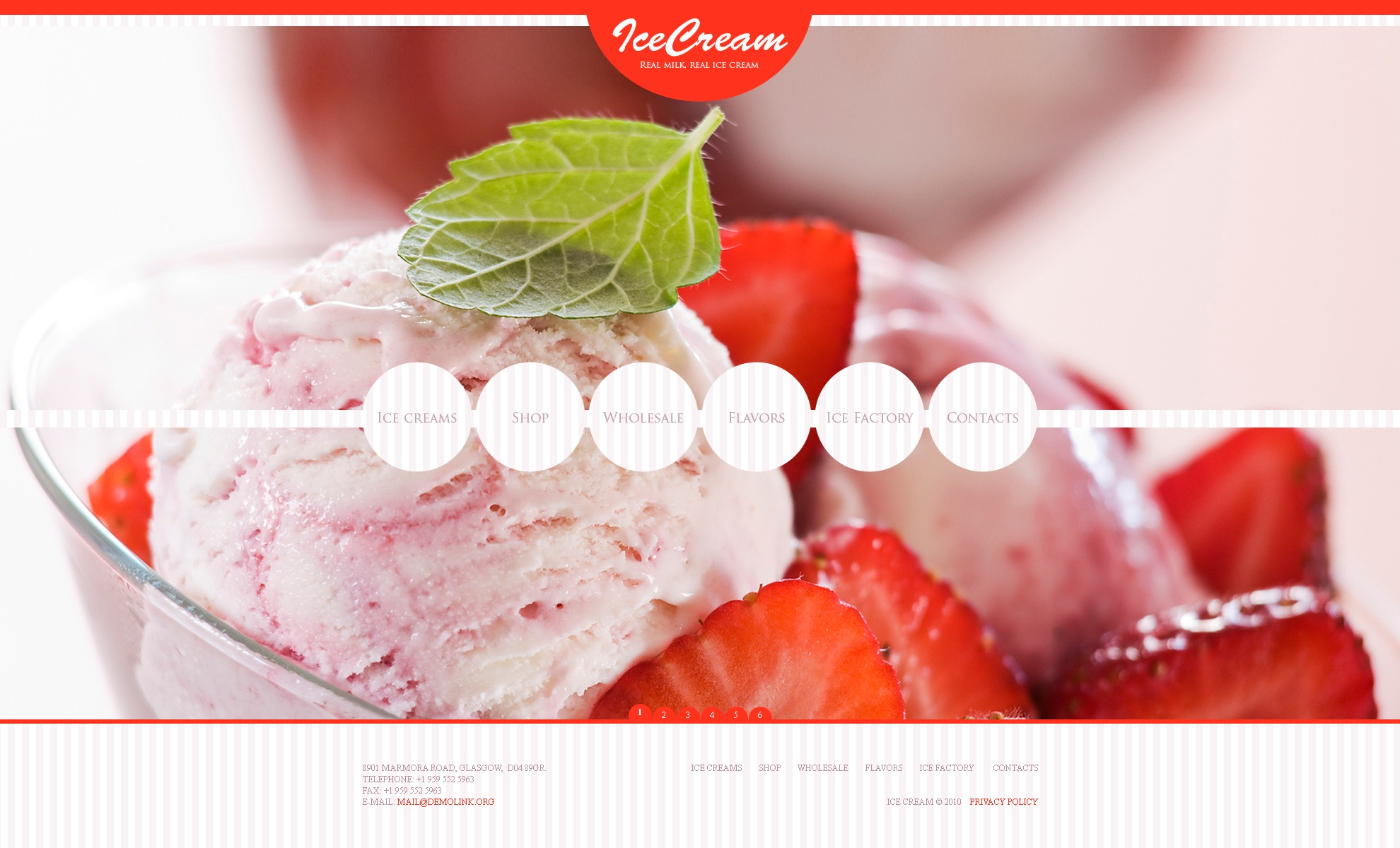 The Ice Cream PSD Design 54323, one of the best PSD templates of its kind (food & drink, wide, jquery), also known as ice cream PSD template, shop PSD template, chocolate PSD template, factory PSD template, contacts PSD template, awards PSD template, banana PSD template, water-ice PSD template, sorbet PSD template, choc-ice PSD template, vanilla PSD template, tasty PSD template, savoury PSD template, delicious PSD template, cafe and related with ice cream, shop, chocolate, factory, contacts, awards, banana, water-ice, sorbet, choc-ice, vanilla, tasty, savoury, delicious, cafe, etc.