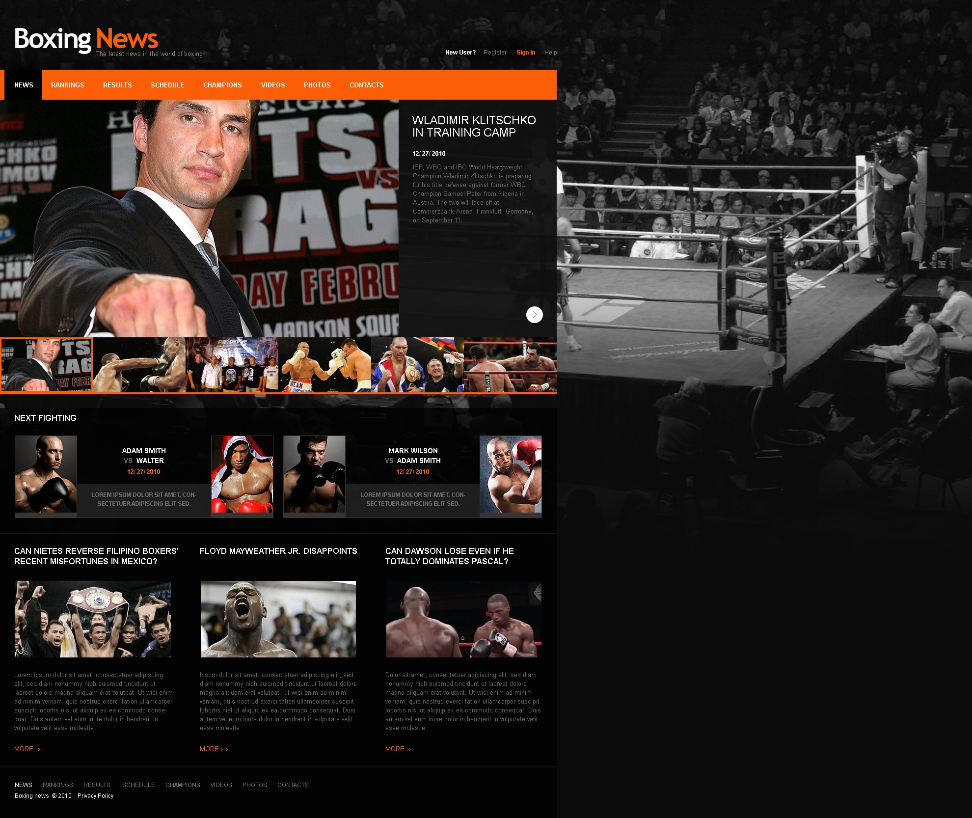 The Boxing Sport Portal PSD Design 54324, one of the best PSD templates of its kind (sport, wide, jquery), also known as boxing sport portal PSD template, fighter PSD template, ring PSD template, match PSD template, championship PSD template, tournament PSD template, sportsman PSD template, community PSD template, schedule PSD template, statistic PSD template, fan PSD template, media PSD template, ticket PSD template, interview PSD template, coach PSD template, leadership PSD template, skill PSD template, sponsors PSD template, gallery PSD template, title PSD template, result PSD template, win PSD template, headgear PSD template, gloves PSD template, Thai mouthpiece PSD template, shoes PSD template, protective PSD template, equipment PSD template, events and related with boxing sport portal, fighter, ring, match, championship, tournament, sportsman, community, schedule, statistic, fan, media, ticket, interview, coach, leadership, skill, sponsors, gallery, title, result, win, headgear, gloves, Thai mouthpiece, shoes, protective, equipment, events, etc.