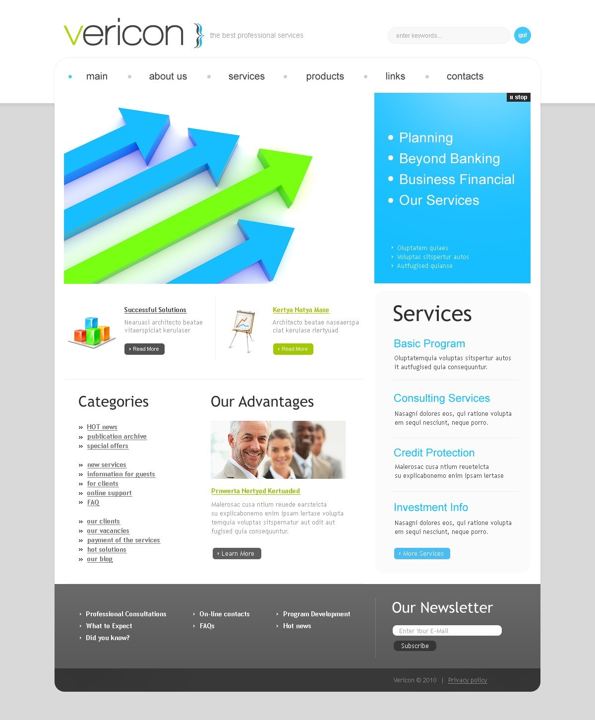 The Vericon Business Company PSD Design 54333, one of the best PSD templates of its kind (business, flash 8, wide), also known as vericon business company PSD template, corporate solutions PSD template, innovations PSD template, contacts PSD template, service PSD template, support PSD template, information dealer PSD template, stocks PSD template, team PSD template, success PSD template, money PSD template, marketing PSD template, director PSD template, manager PSD template, analytics PSD template, planning PSD template, limited PSD template, office PSD template, sales and related with vericon business company, corporate solutions, innovations, contacts, service, support, information dealer, stocks, team, success, money, marketing, director, manager, analytics, planning, limited, office, sales, etc.