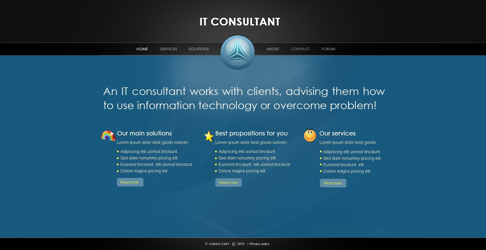 The IT Consultant Support PSD Design 54341, one of the best PSD templates of its kind (business, communications, most popular, wide, jquery), also known as IT consultant support PSD template, network PSD template, communications company PSD template, communication PSD template, information PSD template, informational PSD template, technologies PSD template, connection PSD template, internet PSD template, mail PSD template, www PSD template, web contact PSD template, transfer and related with IT consultant support, network, communications company, communication, information, informational, technologies, connection, internet, mail, www, web contact, transfer, etc.